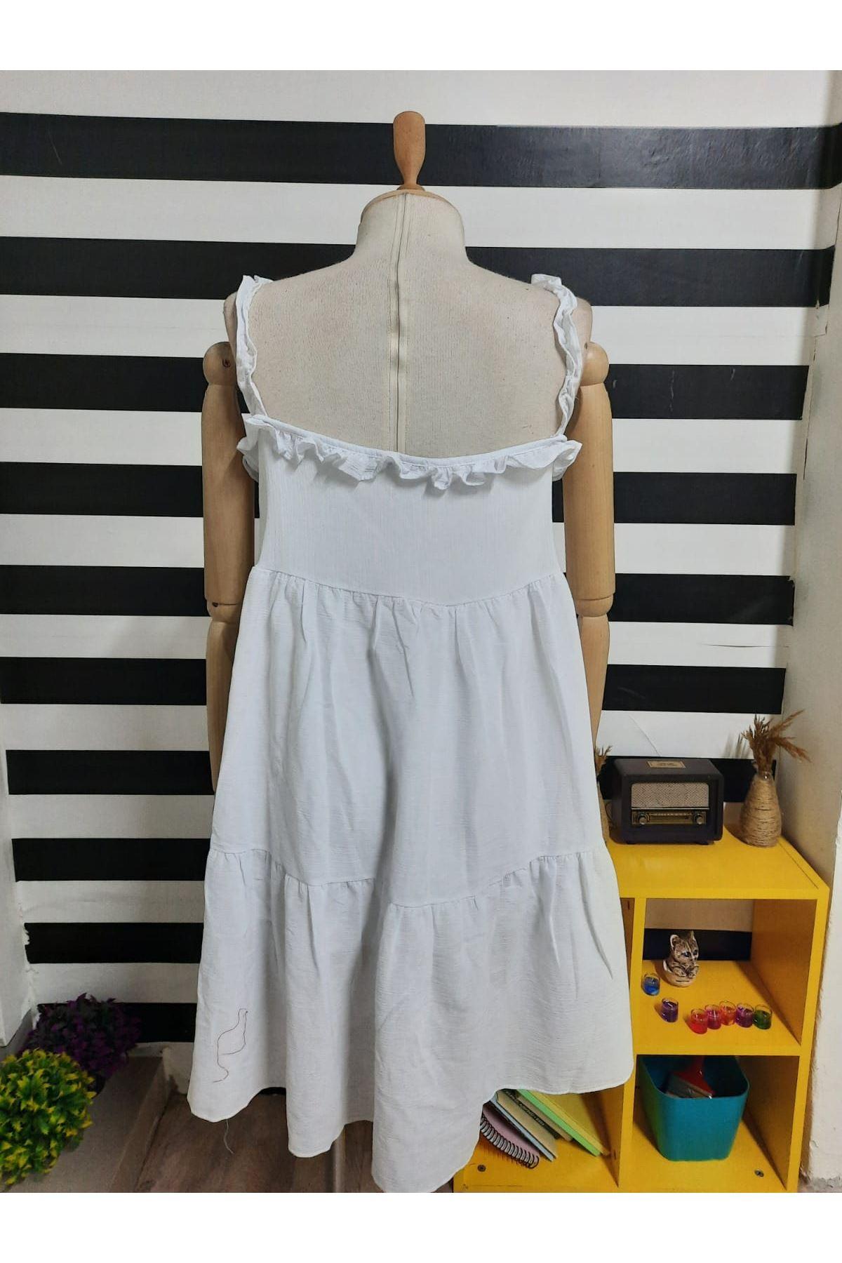 Askılı Fırfır Detaylı Keten Elbise - BEYAZ