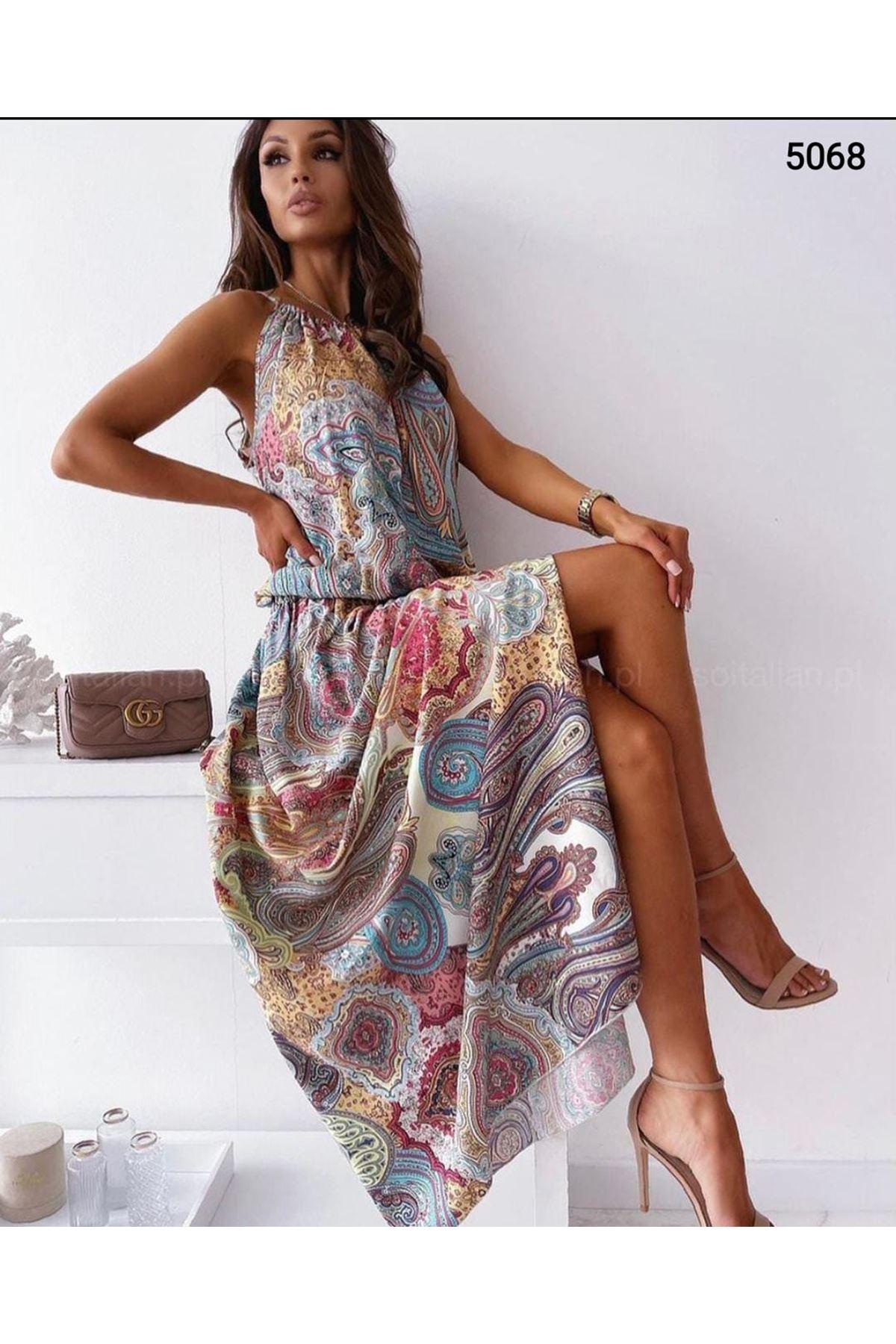 Şal Desen Elbise - MULTİ