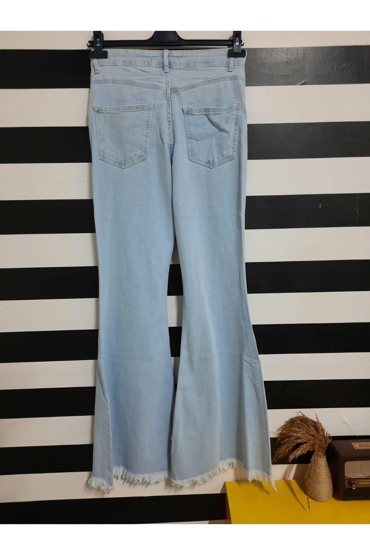 Bol Paça Yırtık Detay Pantolon - MAVİ
