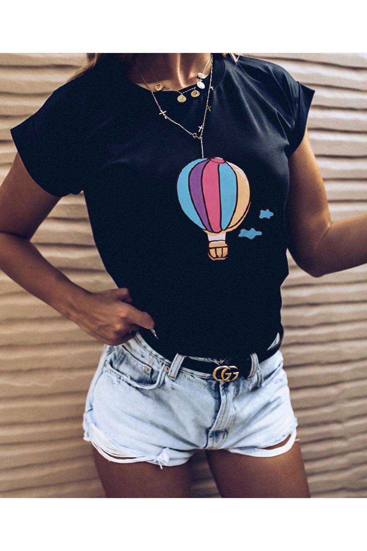 Balon Baskılı Tshirt - SİYAH
