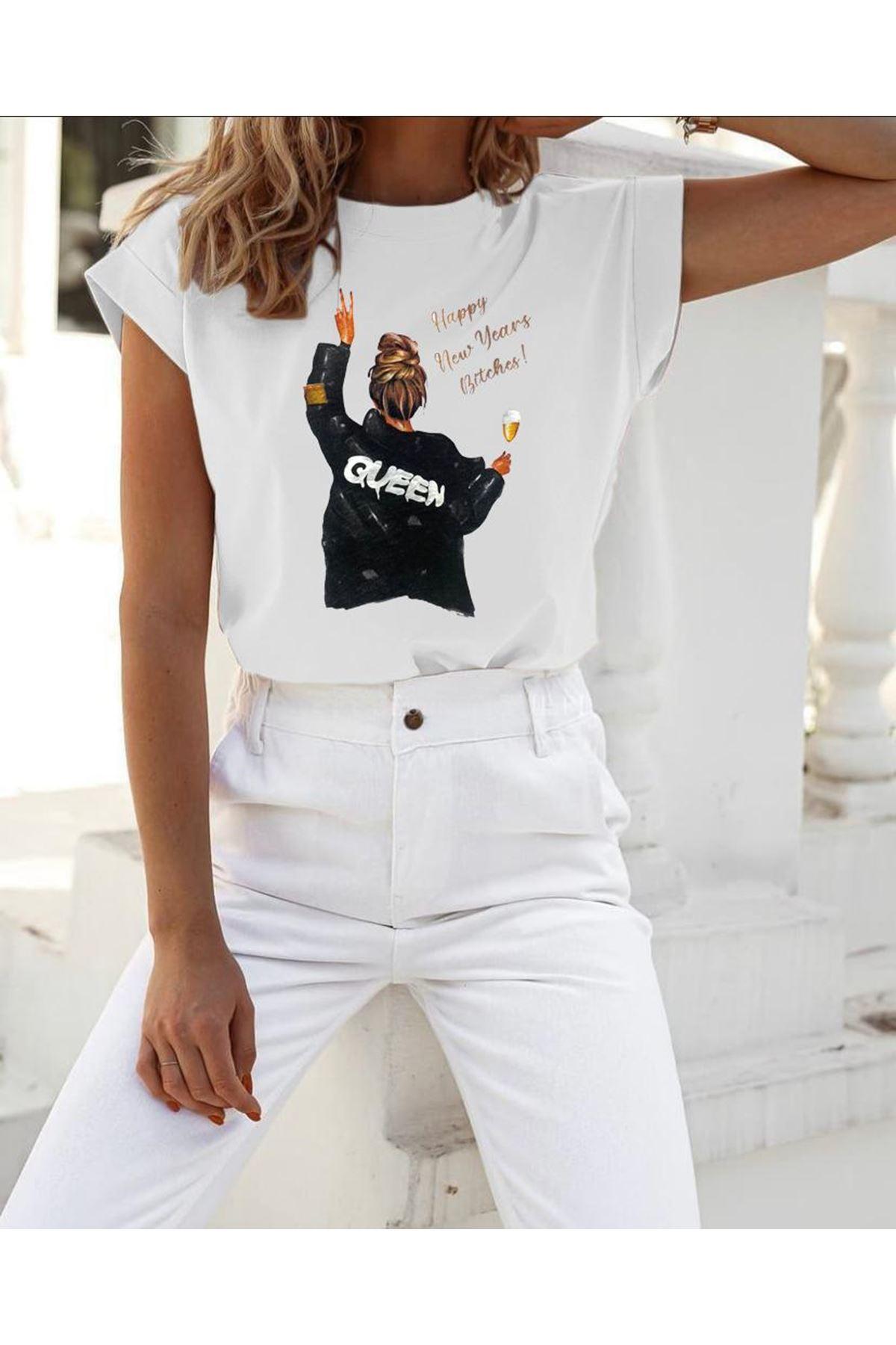 Quen Baskılı Tshirt - BEYAZ