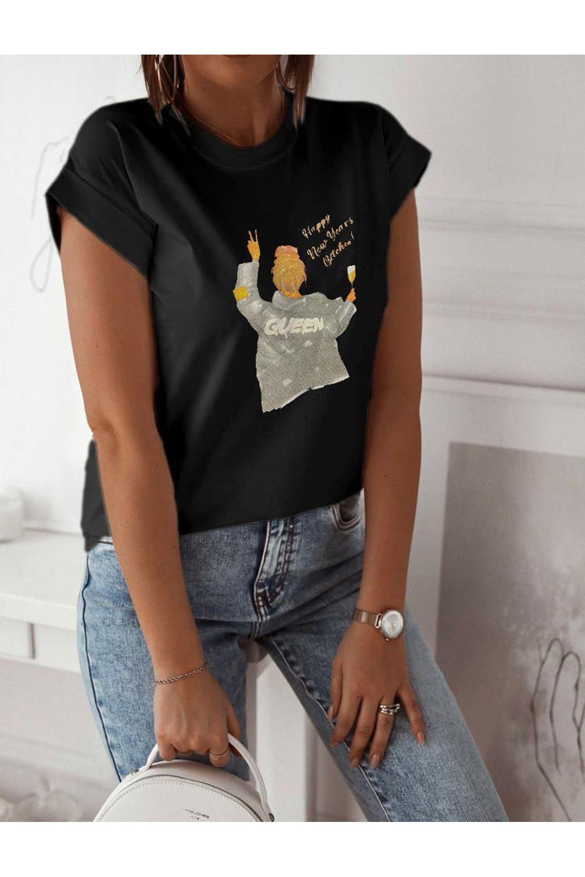 Quen Baskılı Tshirt - SİYAH