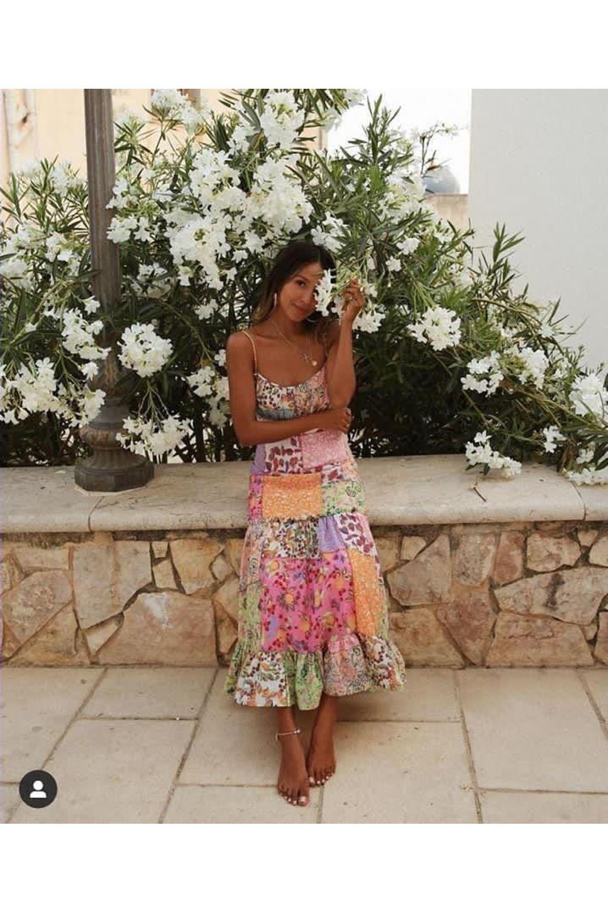 Etnik Desen Askılı Elbise - MULTİ
