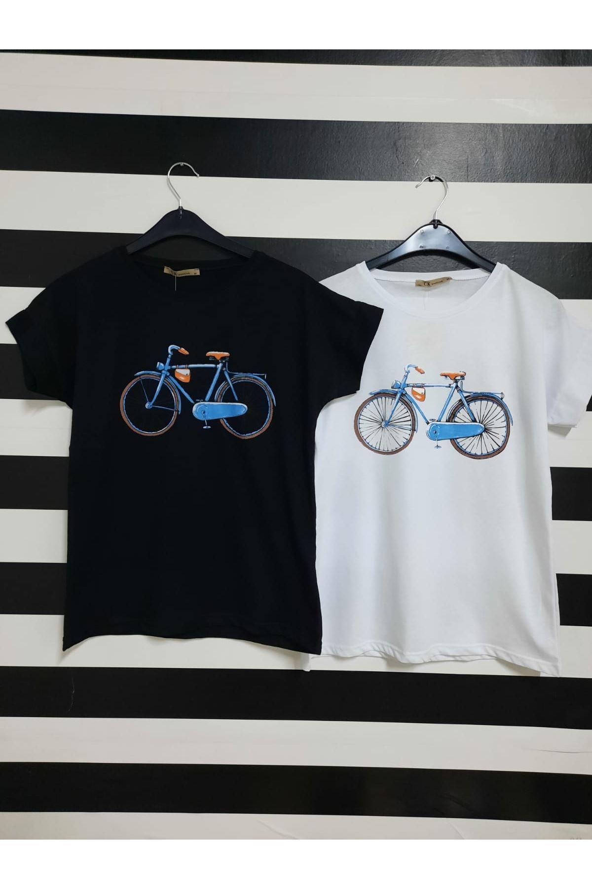 Bisiklet Baskılı Tshirt - SİYAH