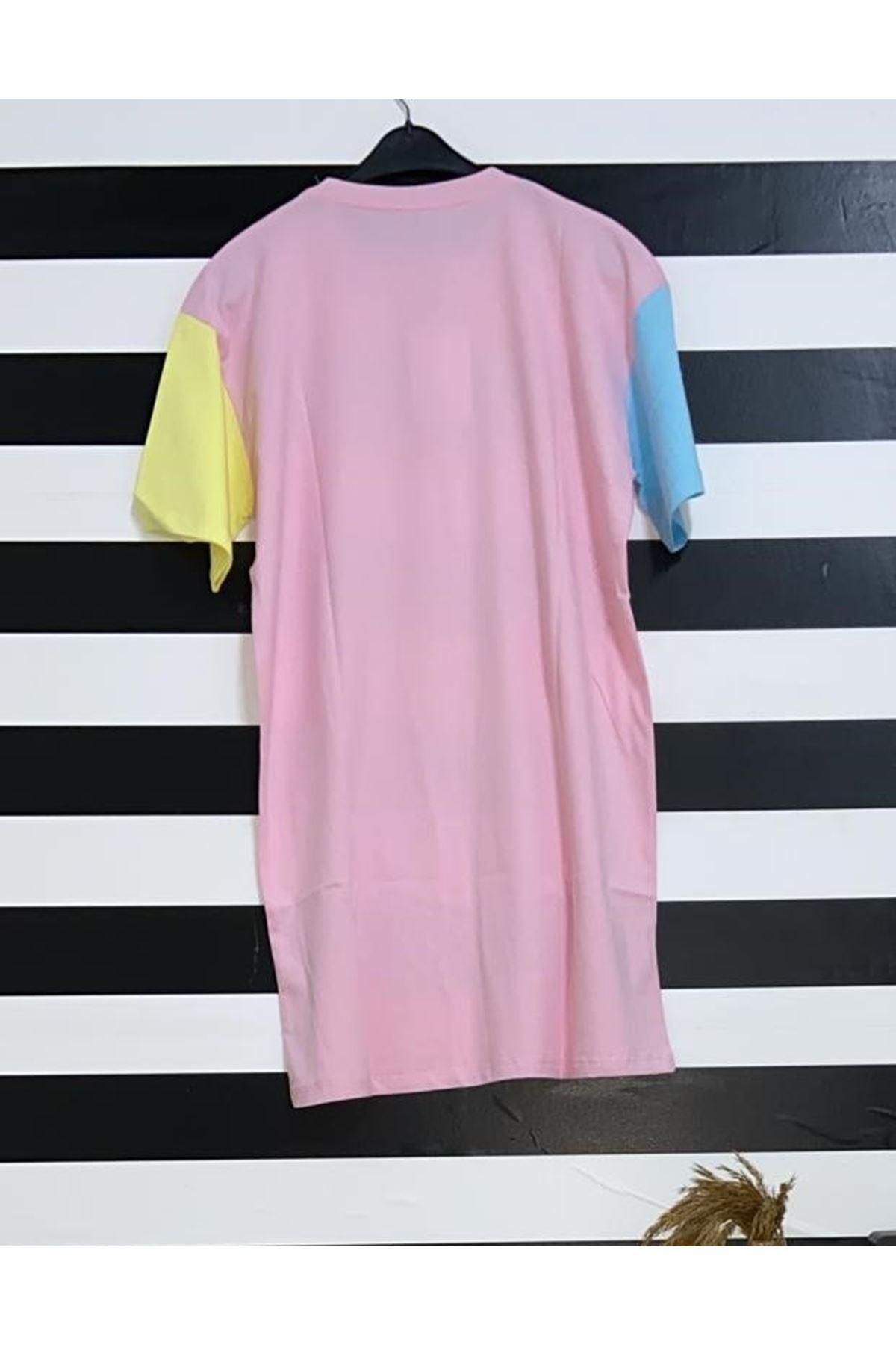Renkli Baskı Detaylı Oversize Tshirt - PUDRA