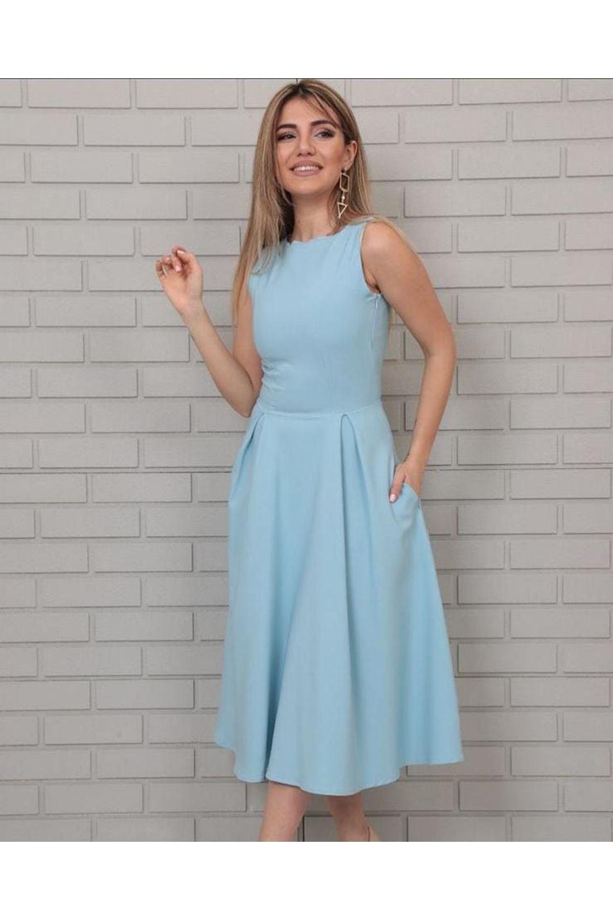 Kolsuz Midiboy Elbise - MAVİ