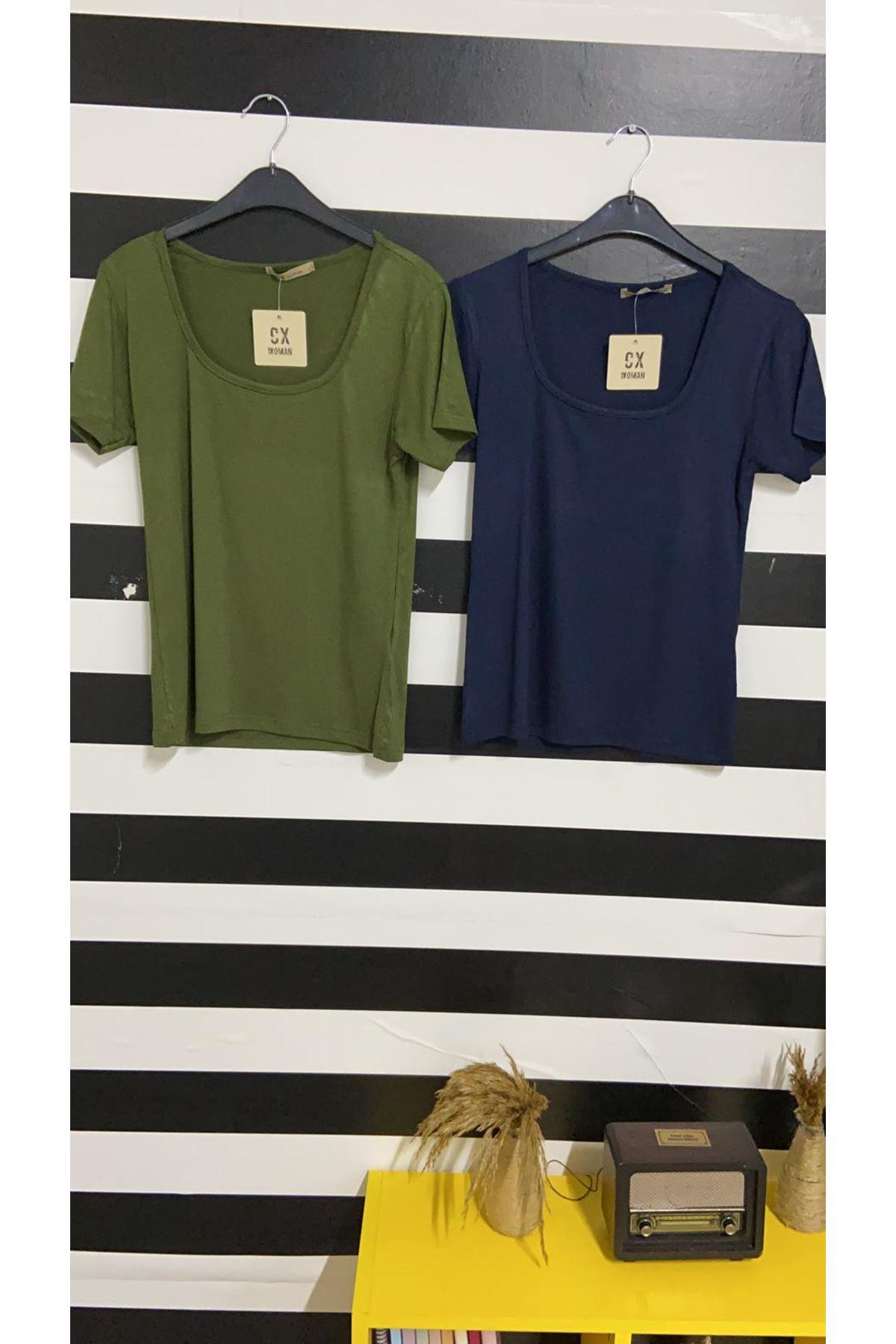 U Yaka Tshirt - HAKİ