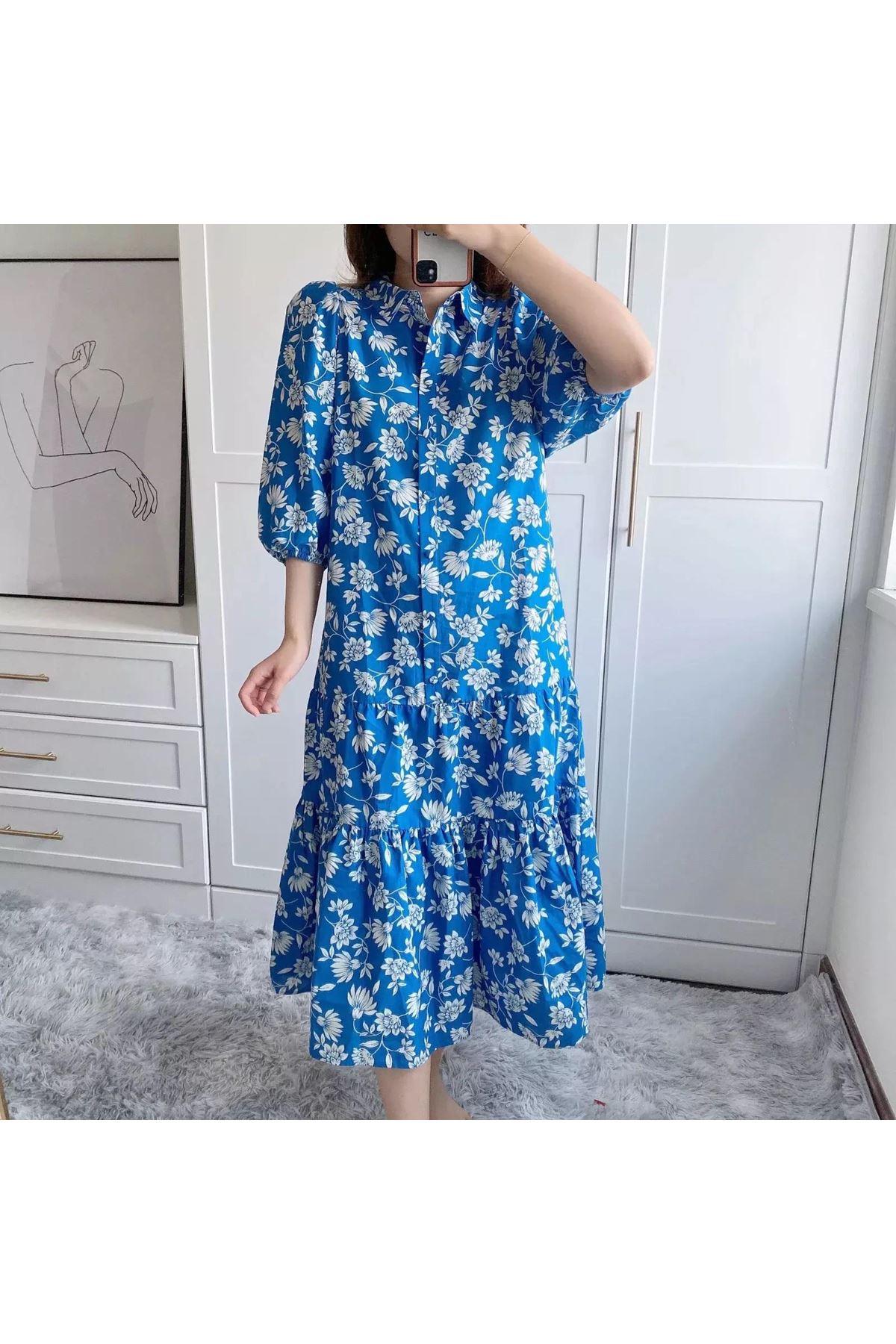 Çiçek Desen Eteği Volanlı Gömlek Elbise - MAVİ