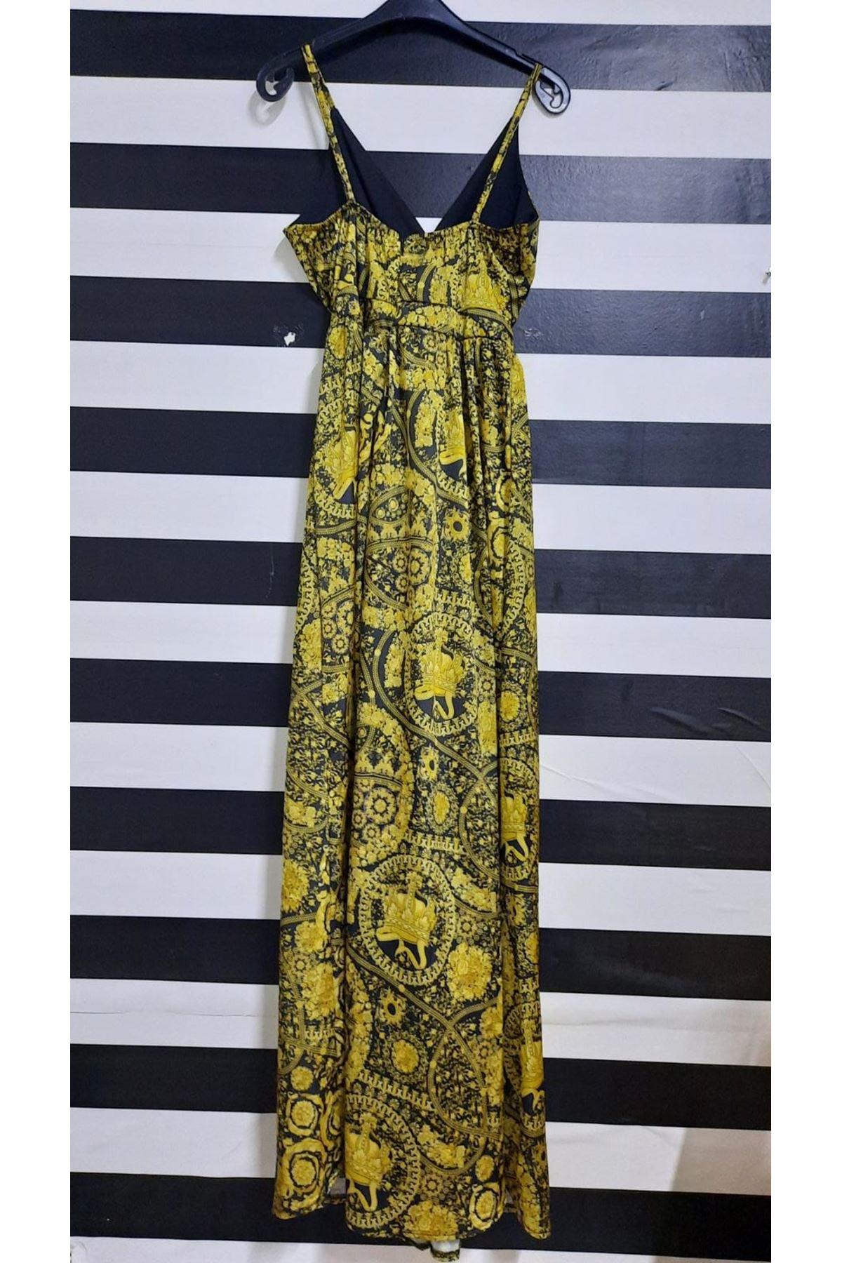 Yırtmaç Detaylı Astarlı Saten Elbise - MULTİ