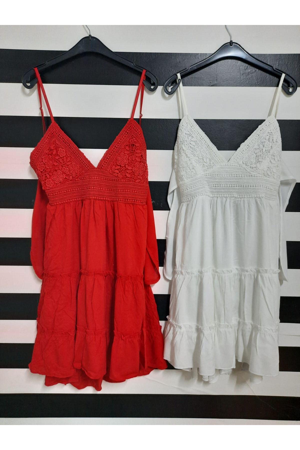 Sırt Dekolteli Askılı Elbise  - BEYAZ