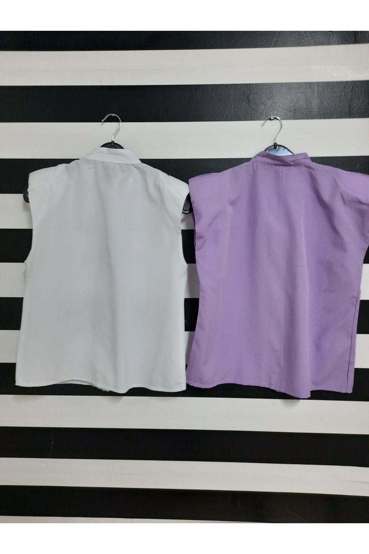 Sıfır Kol Vatkalı Gömlek - BEYAZ