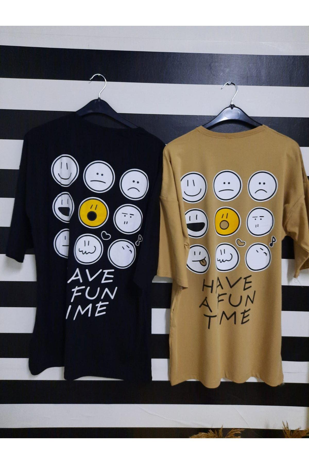 Emoji Baskılı Oversize T-shirt - SİYAH