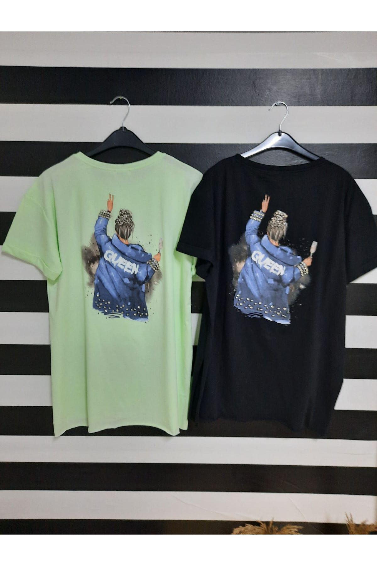 Baskılı Ve Sırt Çakım Detaylı Tshirt - MİNT