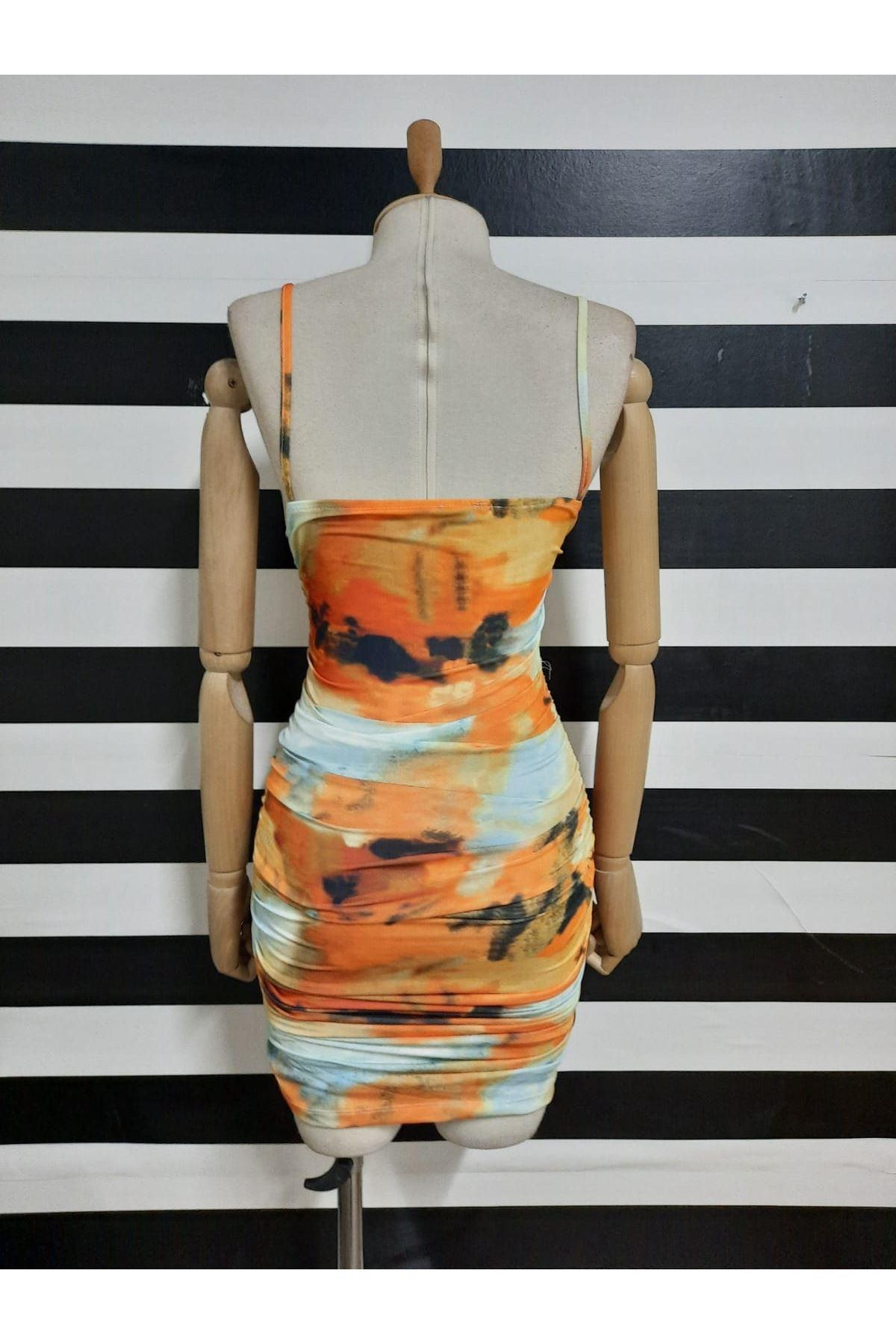 Batik Desen Bağlama Detaylı Elbise - MULTİ