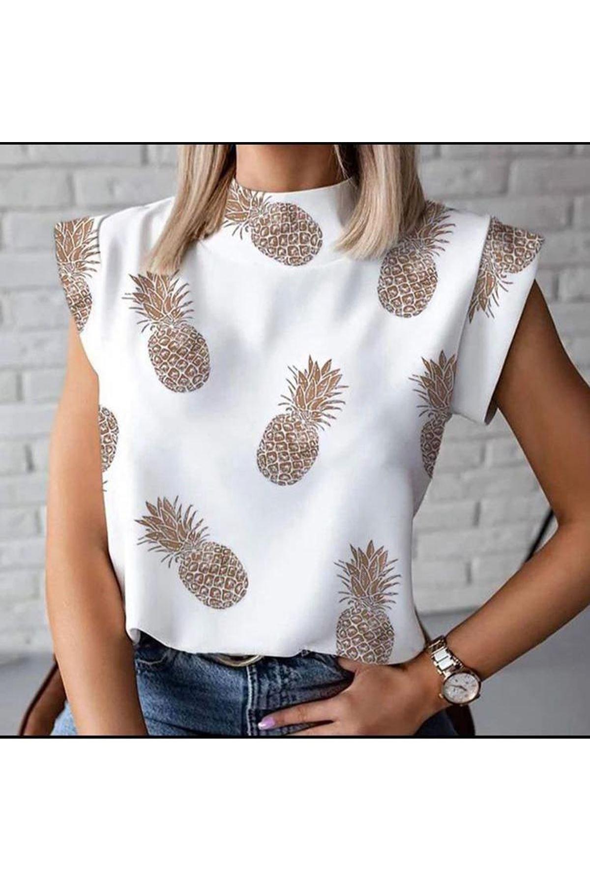 Kısa Kol Ananas Baskılı T-shirt - BEYAZ