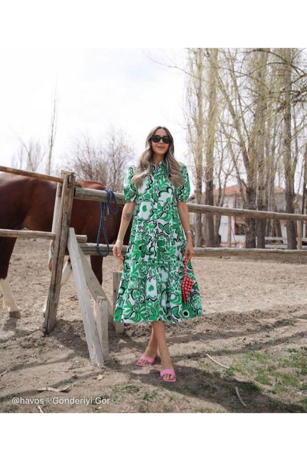 Çiçek Desen Kısa Kol Elbise - YEŞİL