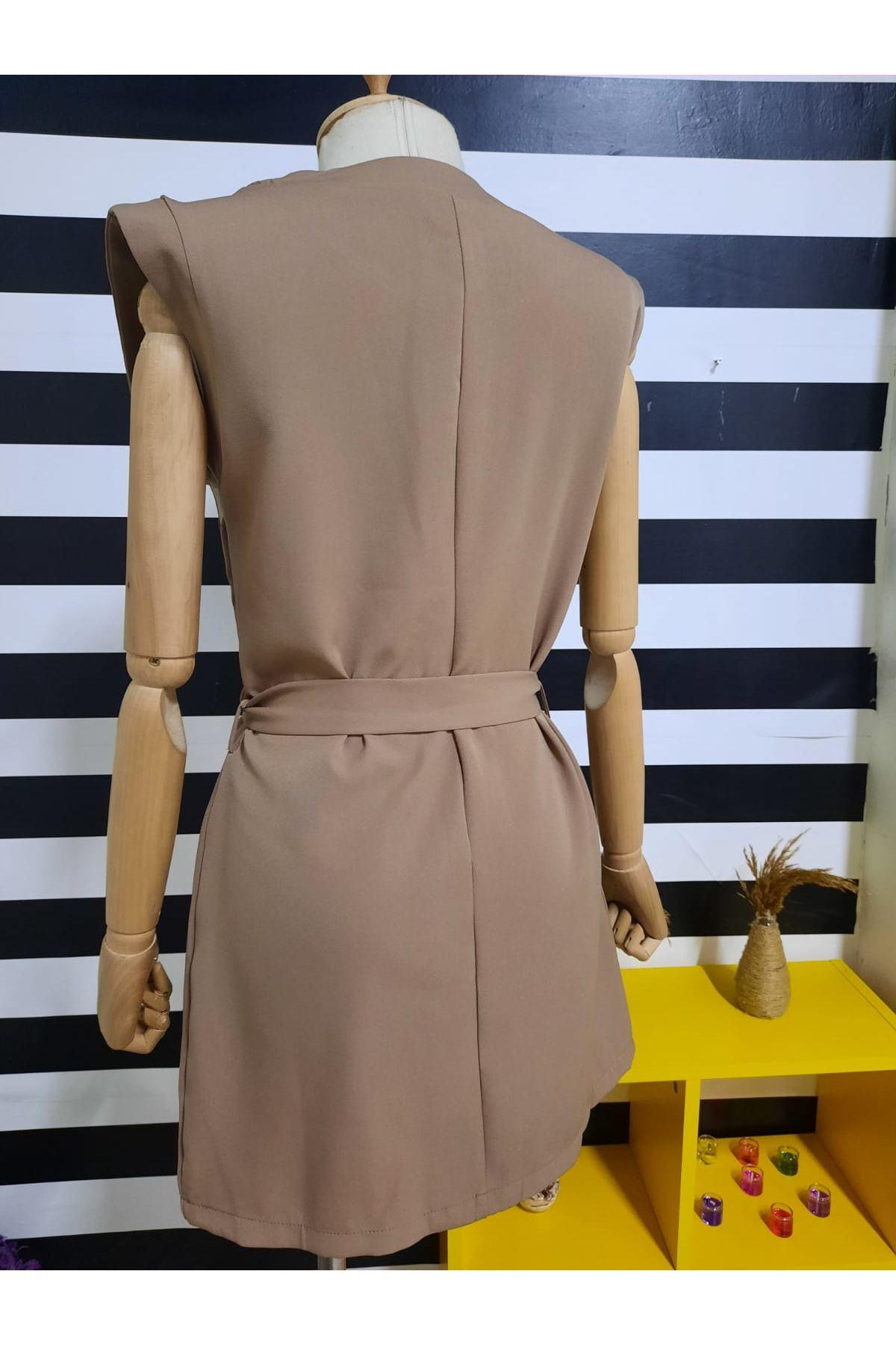 Cep Detaylı Gömlek Elbise - VİZON