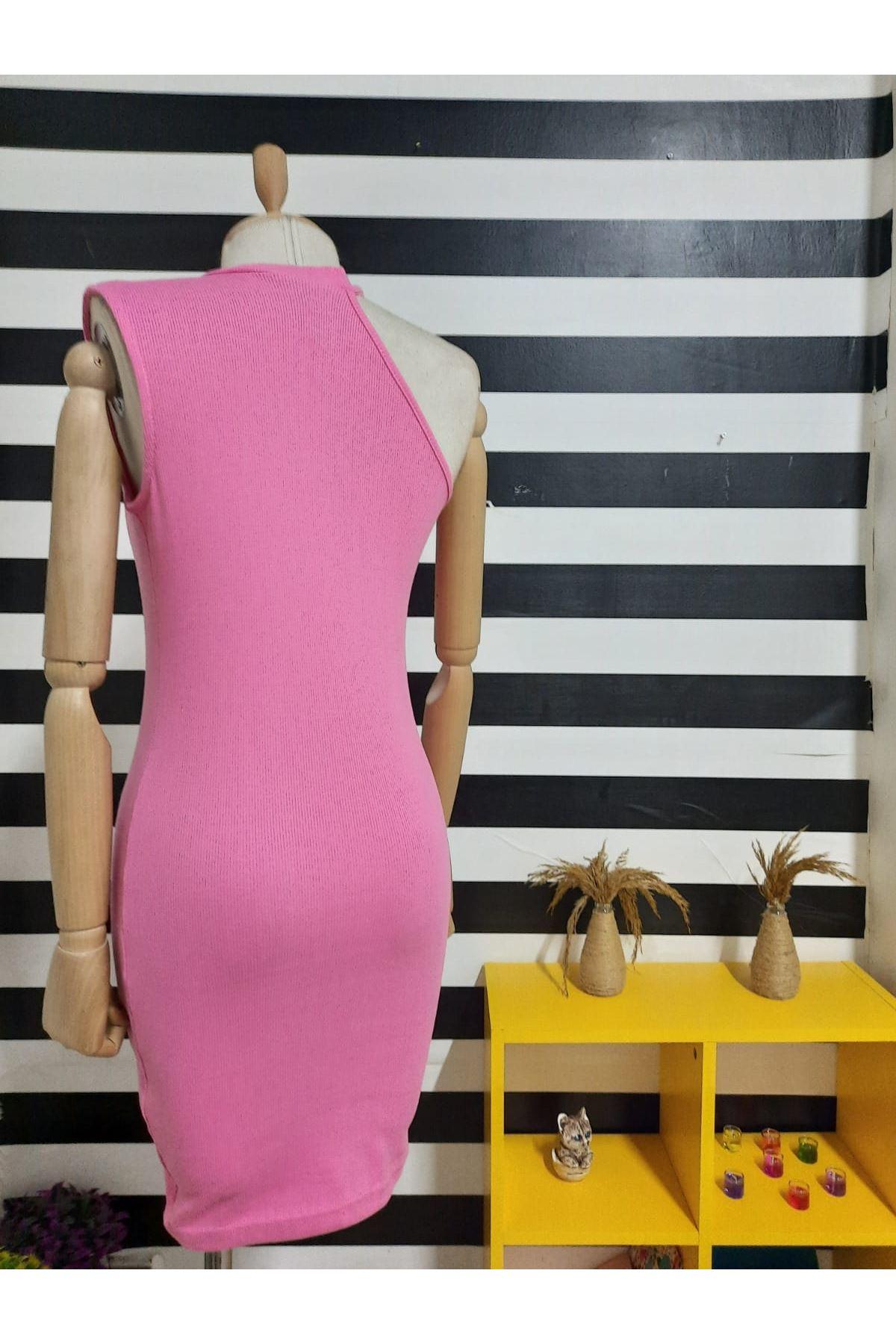 Tek Omuz Detaylı  Kaşkorse Elbise - PUDRA
