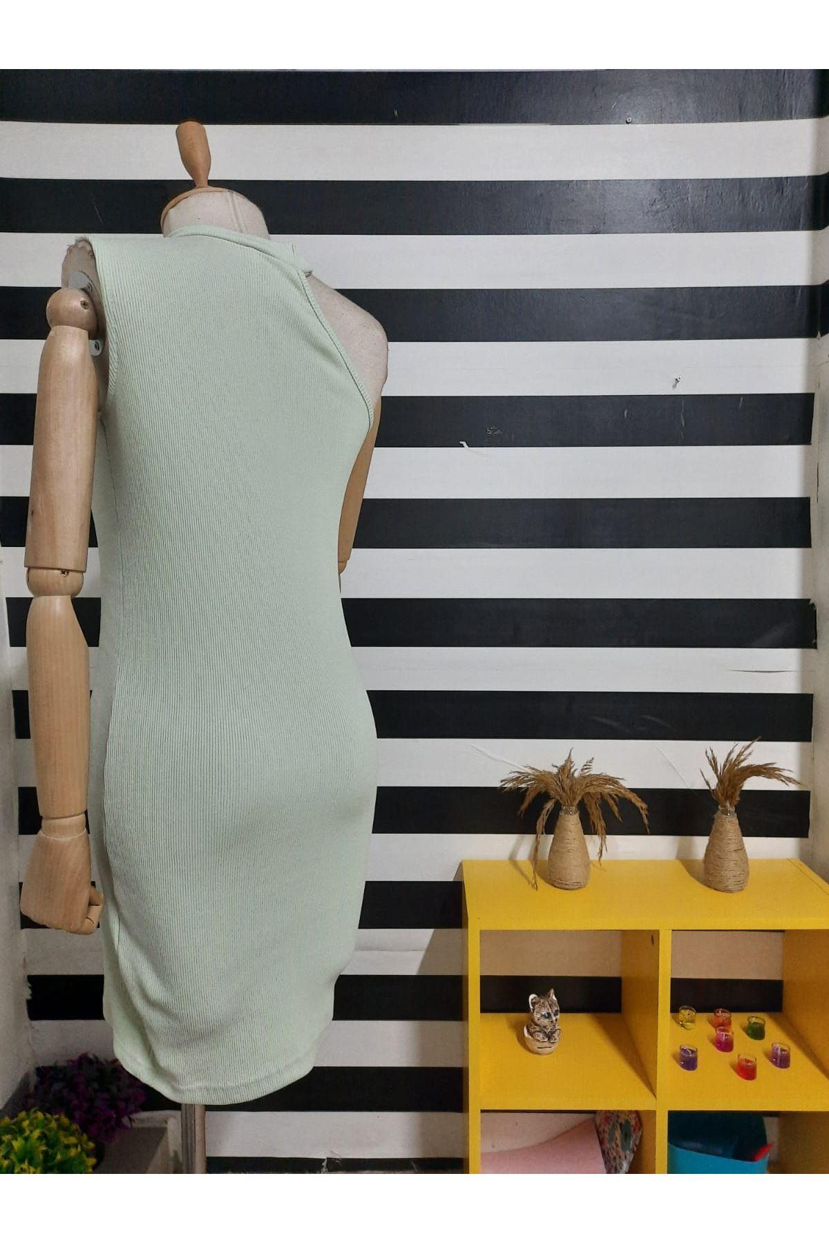 Tek Omuz Detaylı  Kaşkorse Elbise - MİNT