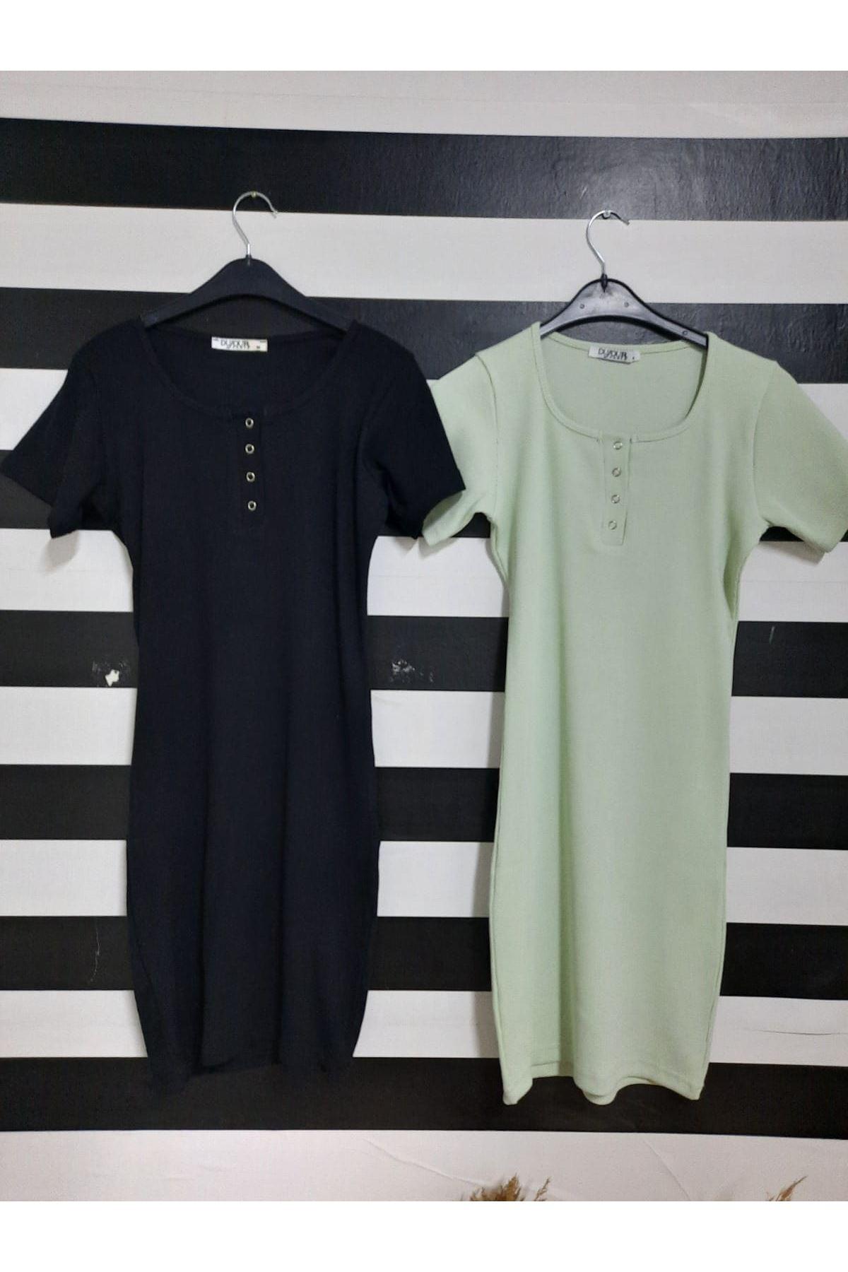 U Yaka Düğme Detaylı Kaşkorse Elbise - MİNT