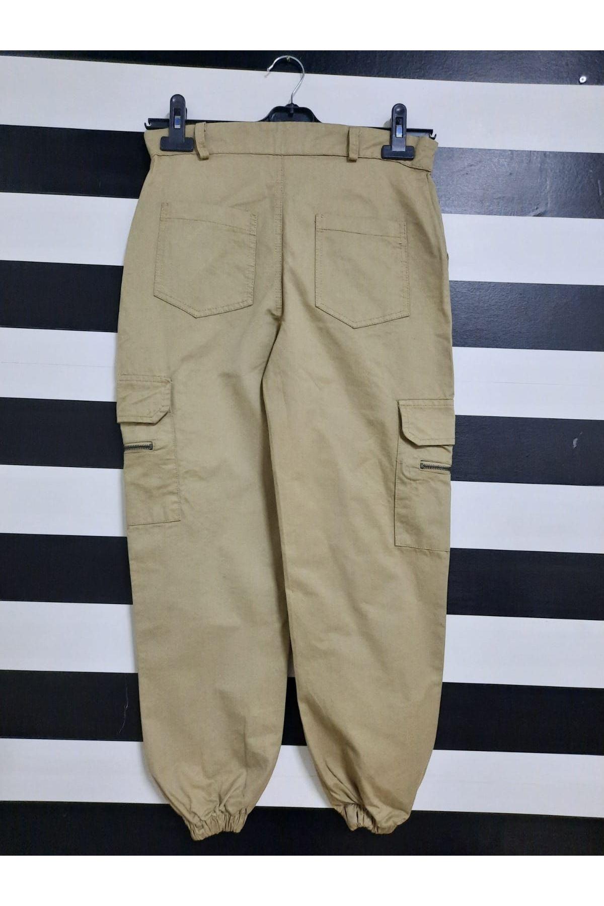 Kargo Cep Detaylı Gabardin Pantolon - BEJ