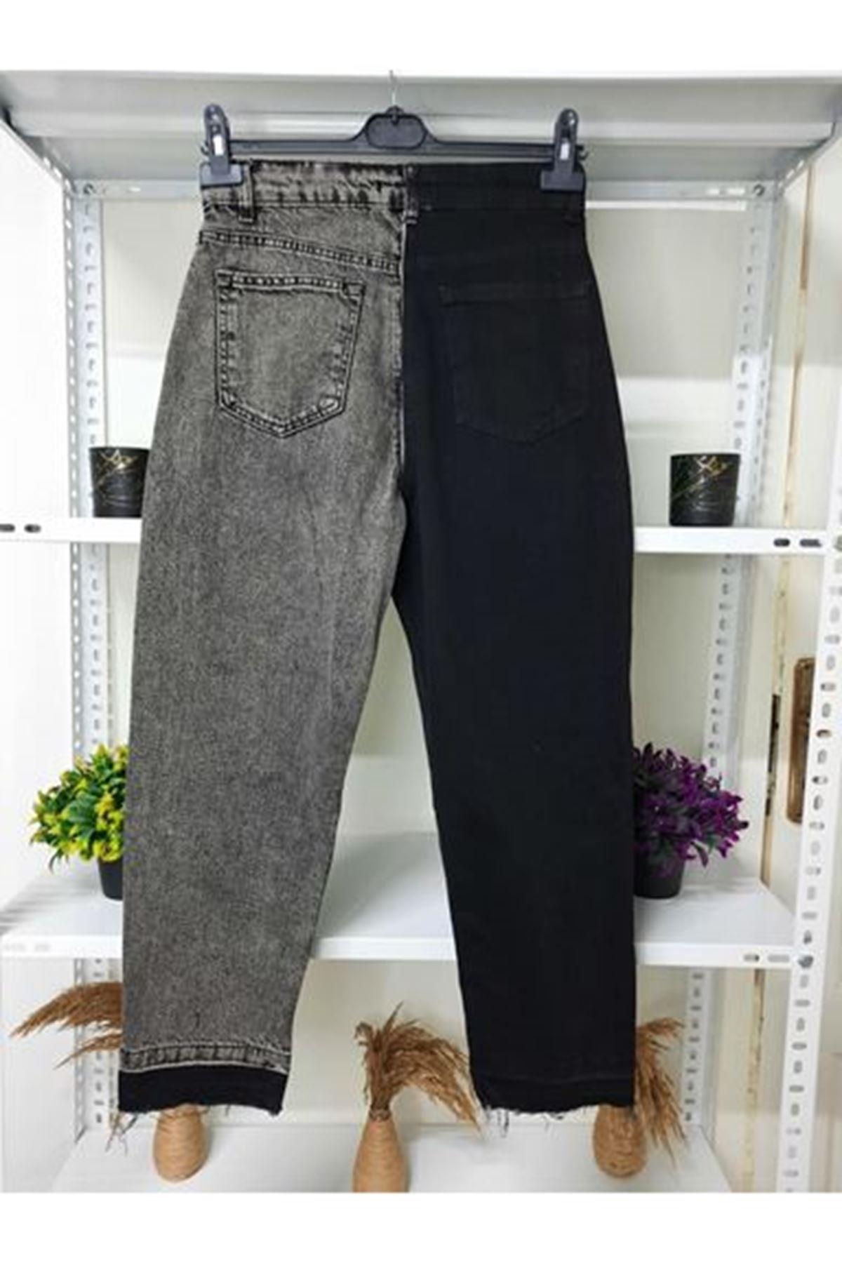 Çift Renk Kot Pantolon - SİYAH