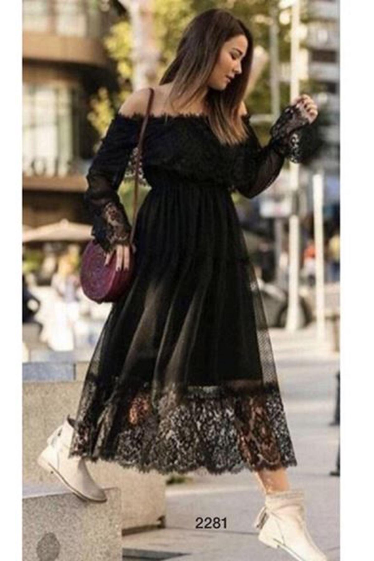 Madonna Yaka Dantel Detaylı Elbise - SİYAH