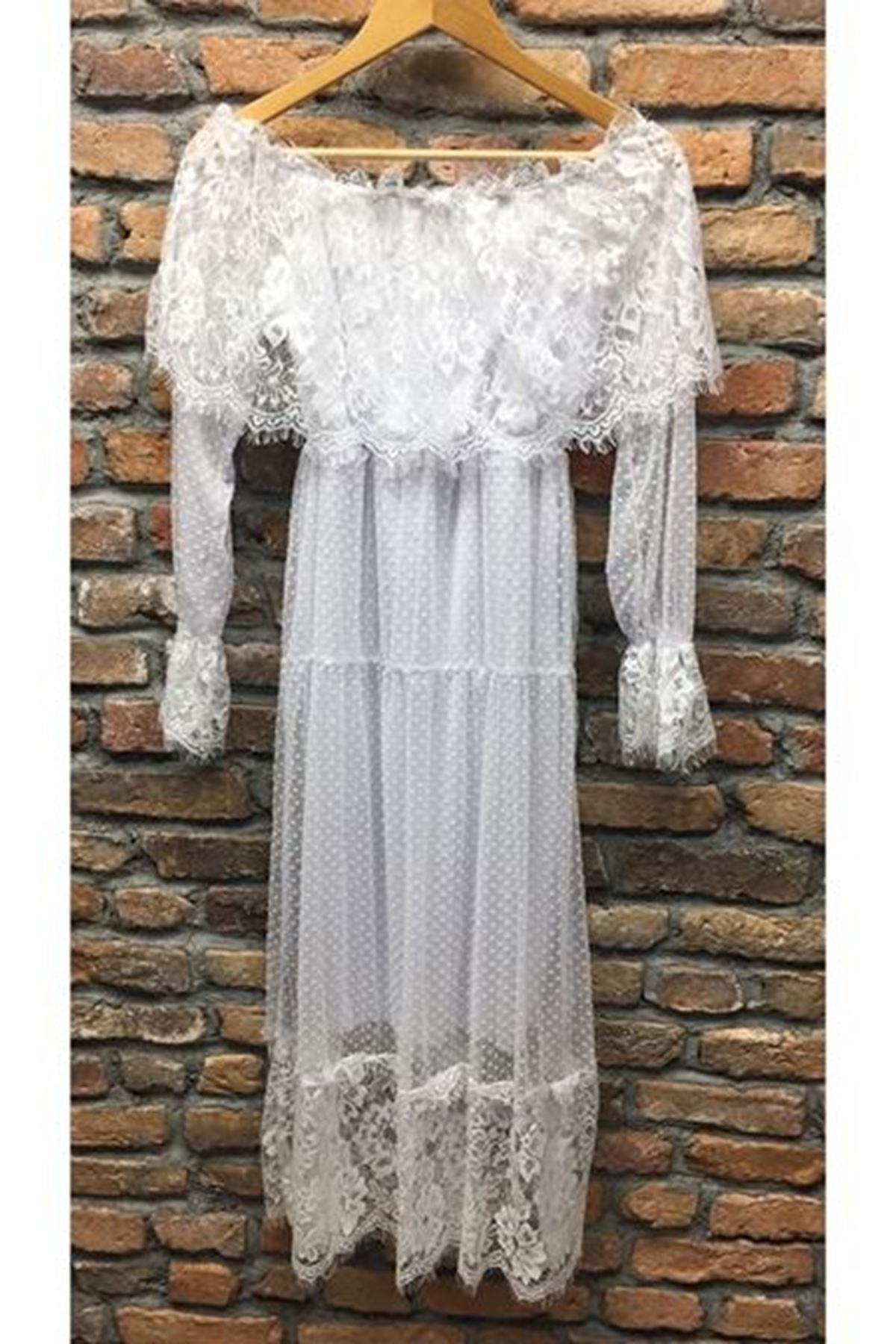 Madonna Yaka Dantel Detaylı Elbise - BEYAZ