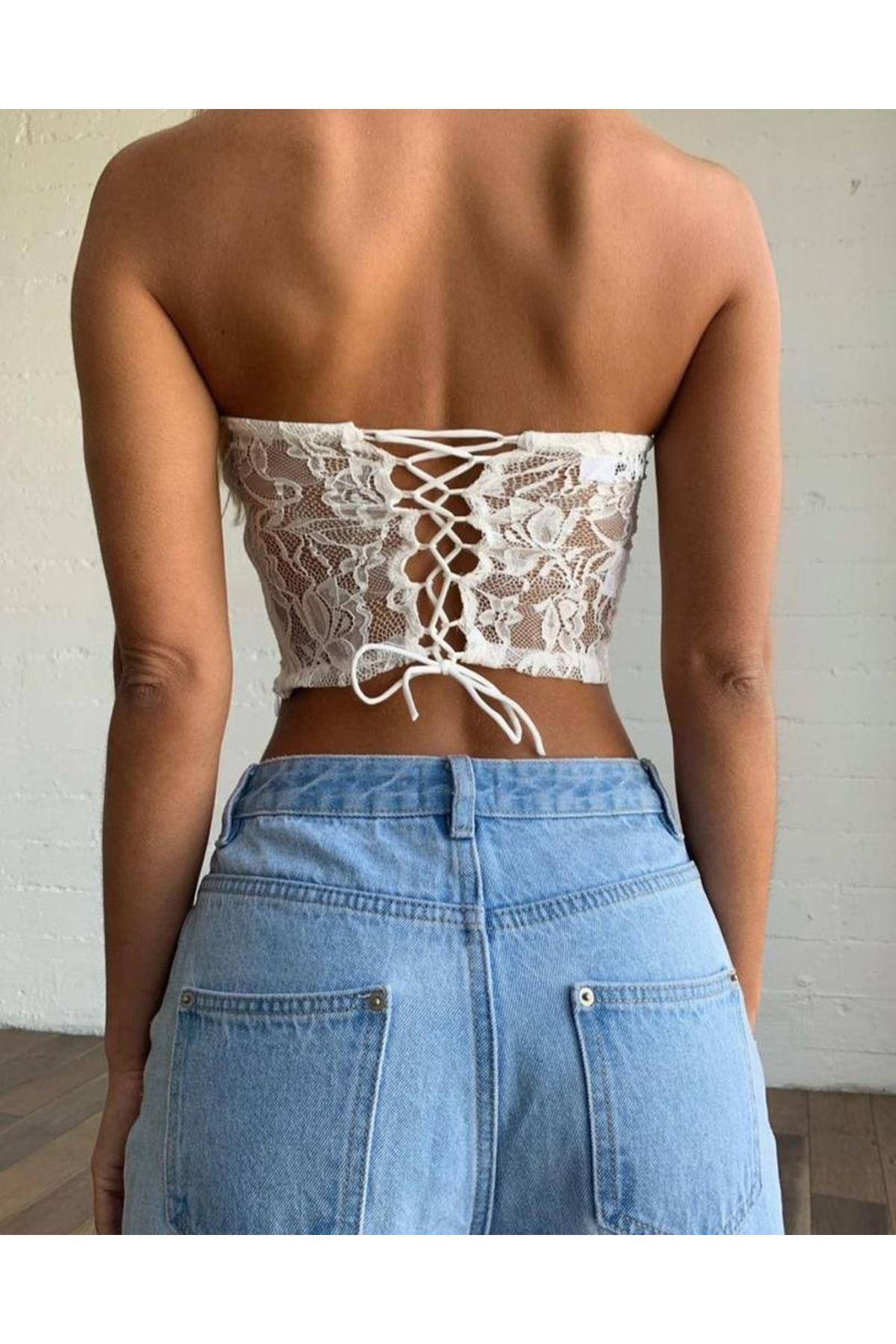 Çiçek Desen Dantel Detaylı Bluz - BEYAZ
