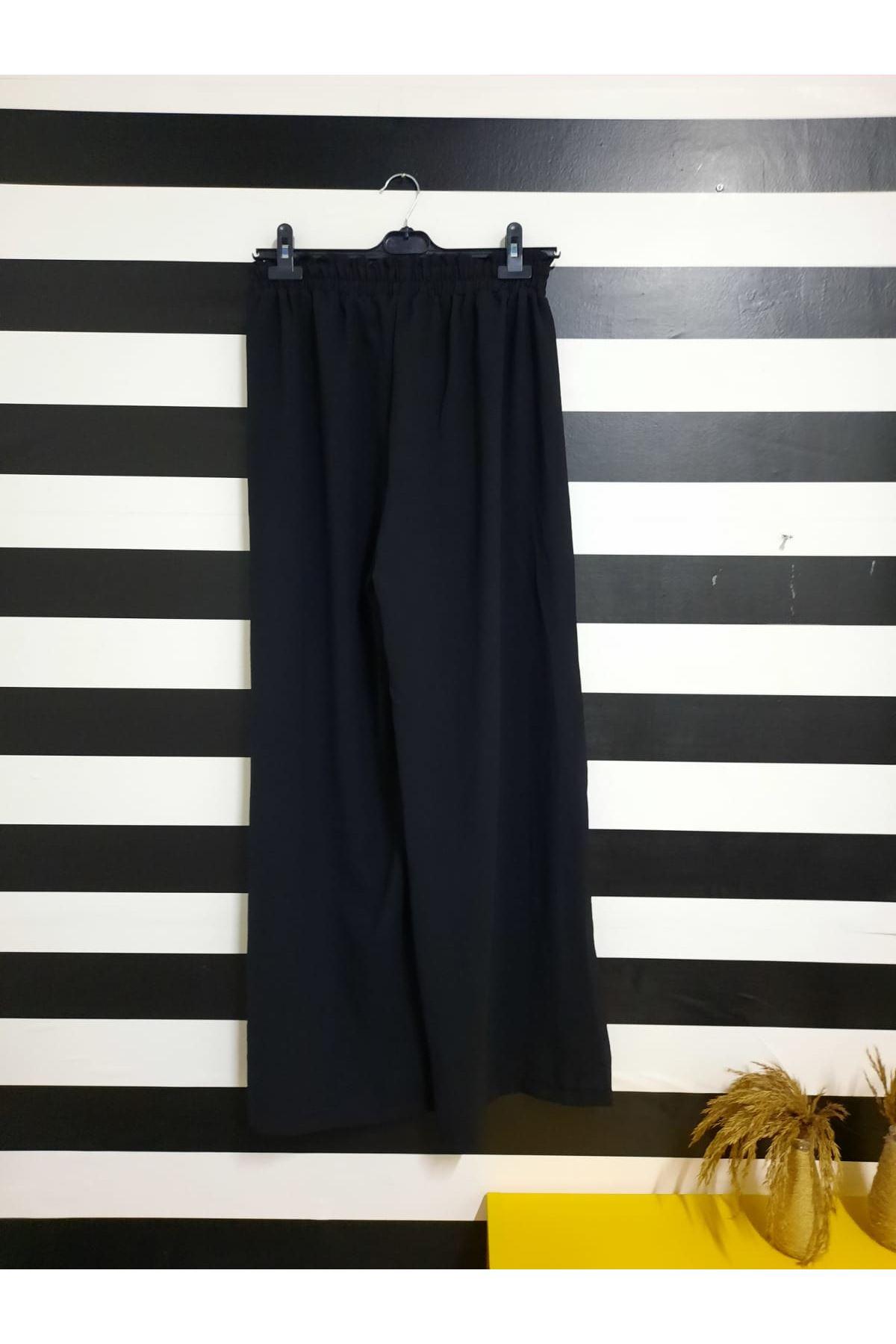 Ayrobin Kumaş Salaş Pantolon - SİYAH