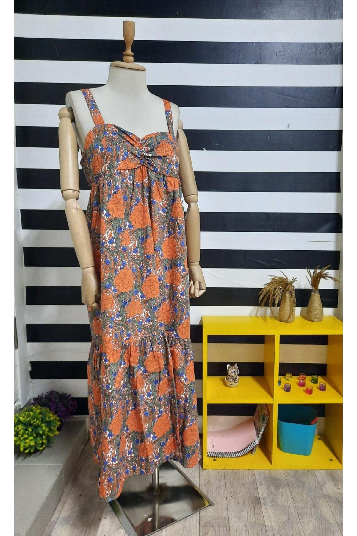 Çiçek Desen Askılı Elbise - TURUNCU