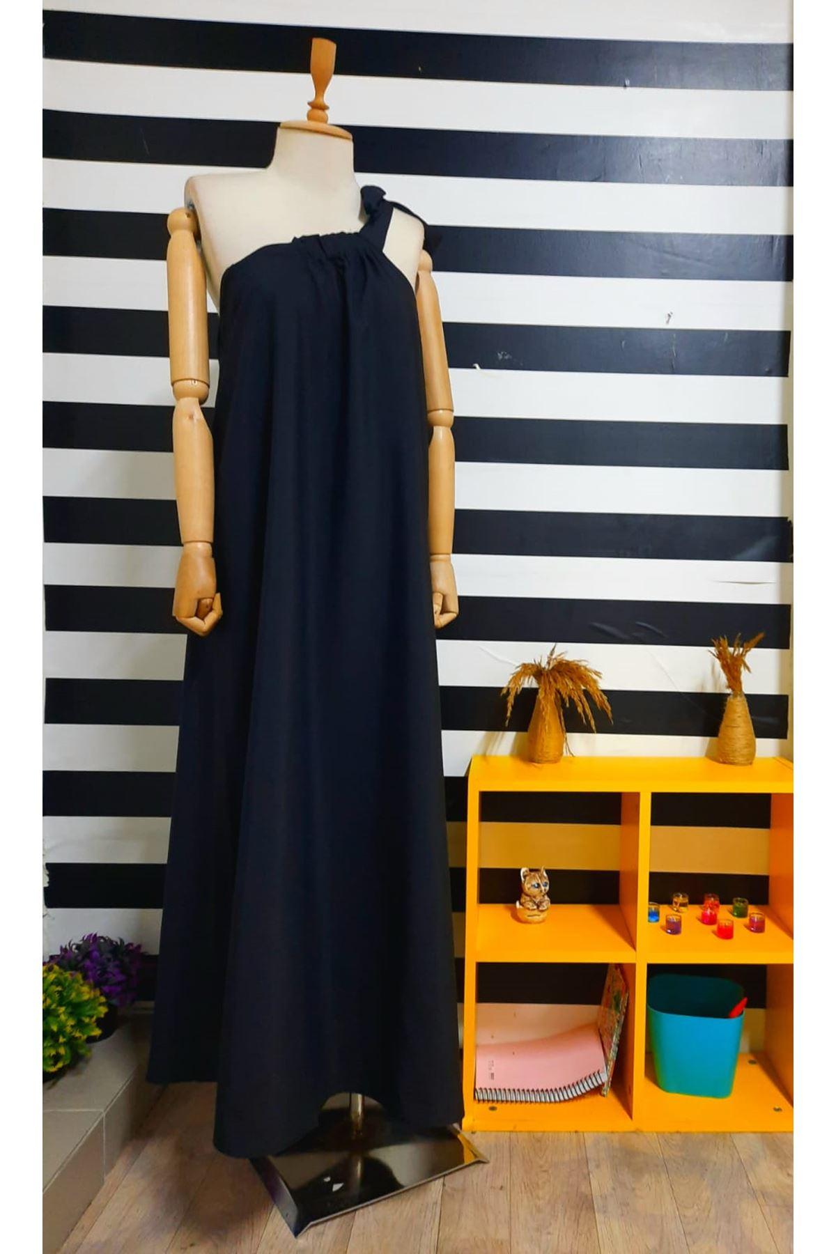 Tek Omuz Bağlamalı Elbise - SİYAH