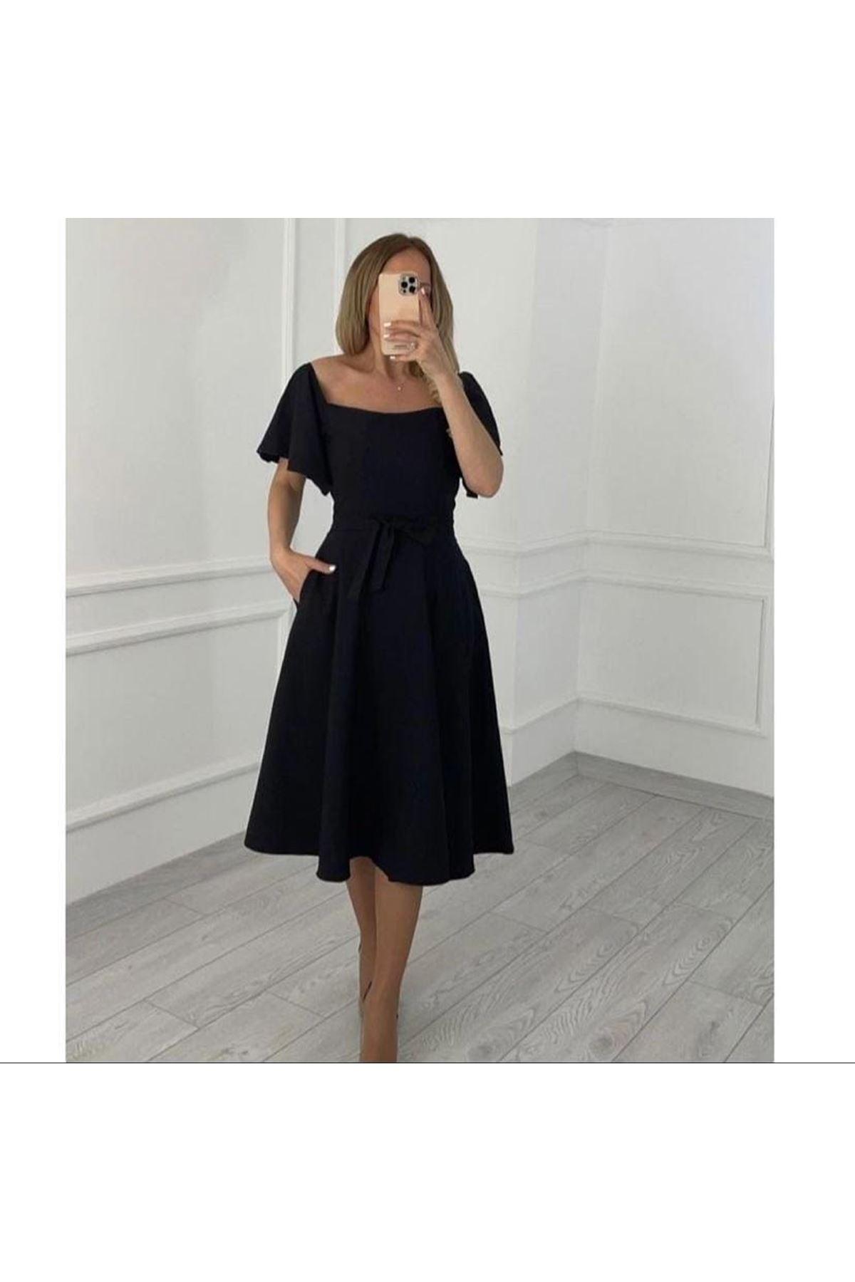 Carmen Yaka Atlas Elbise - SİYAH