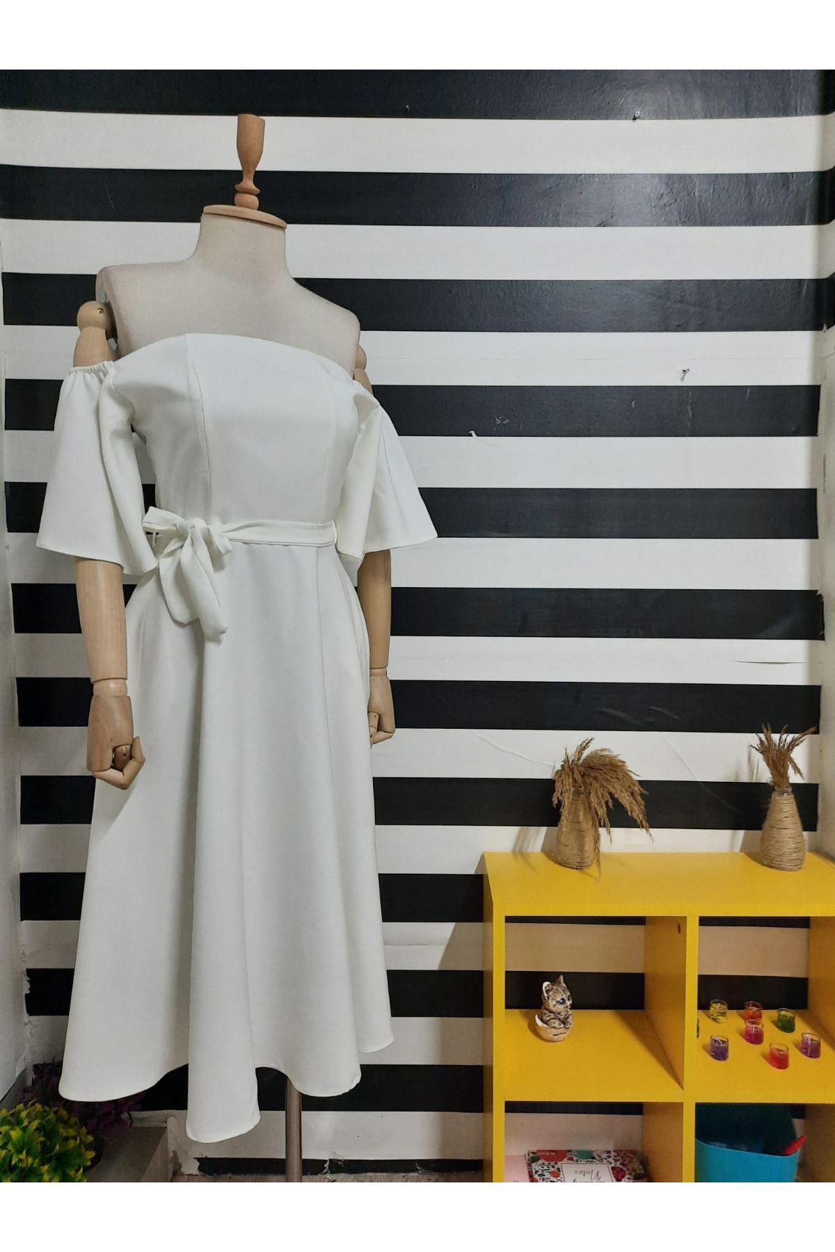 Carmen Yaka Atlas Elbise - BEYAZ