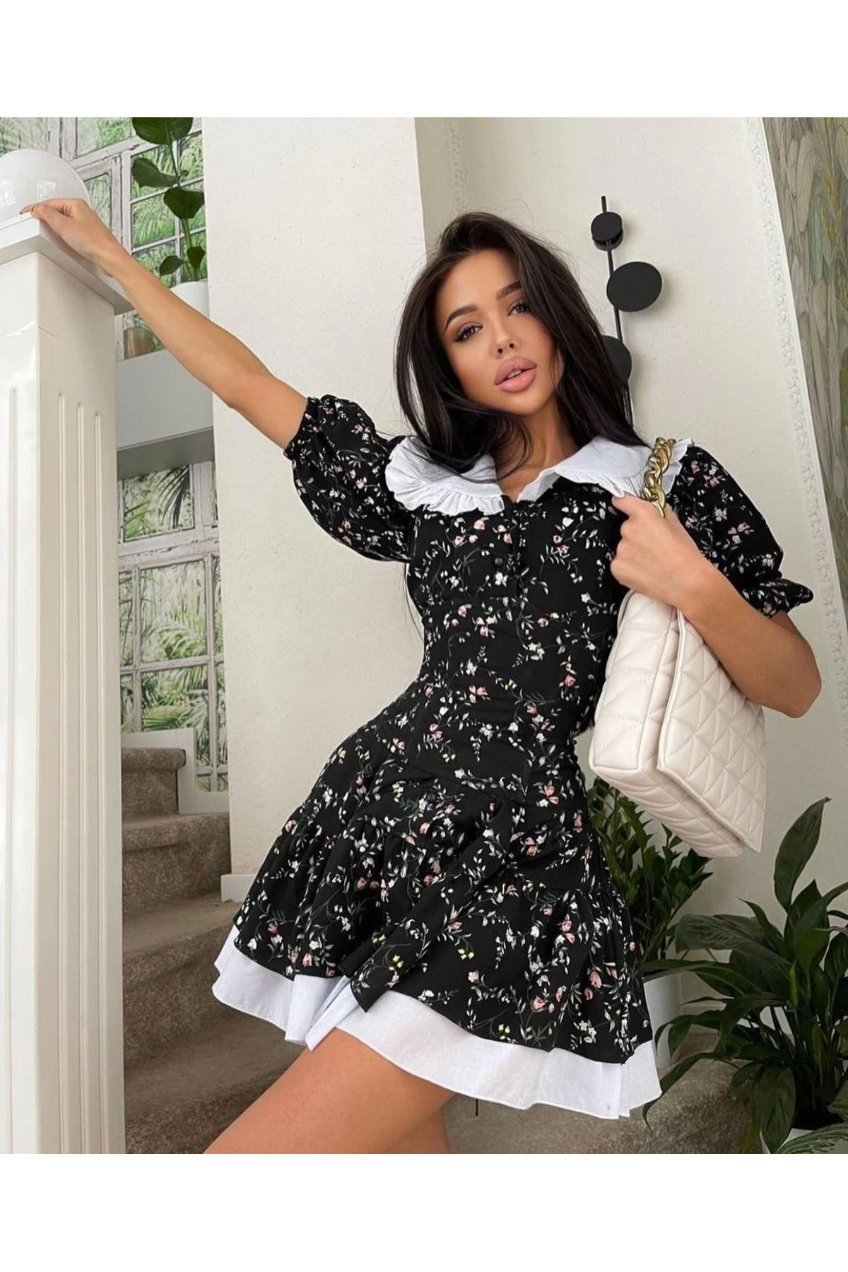 Çiçek Desen Fırfırlı Mini Elbise - SİYAH