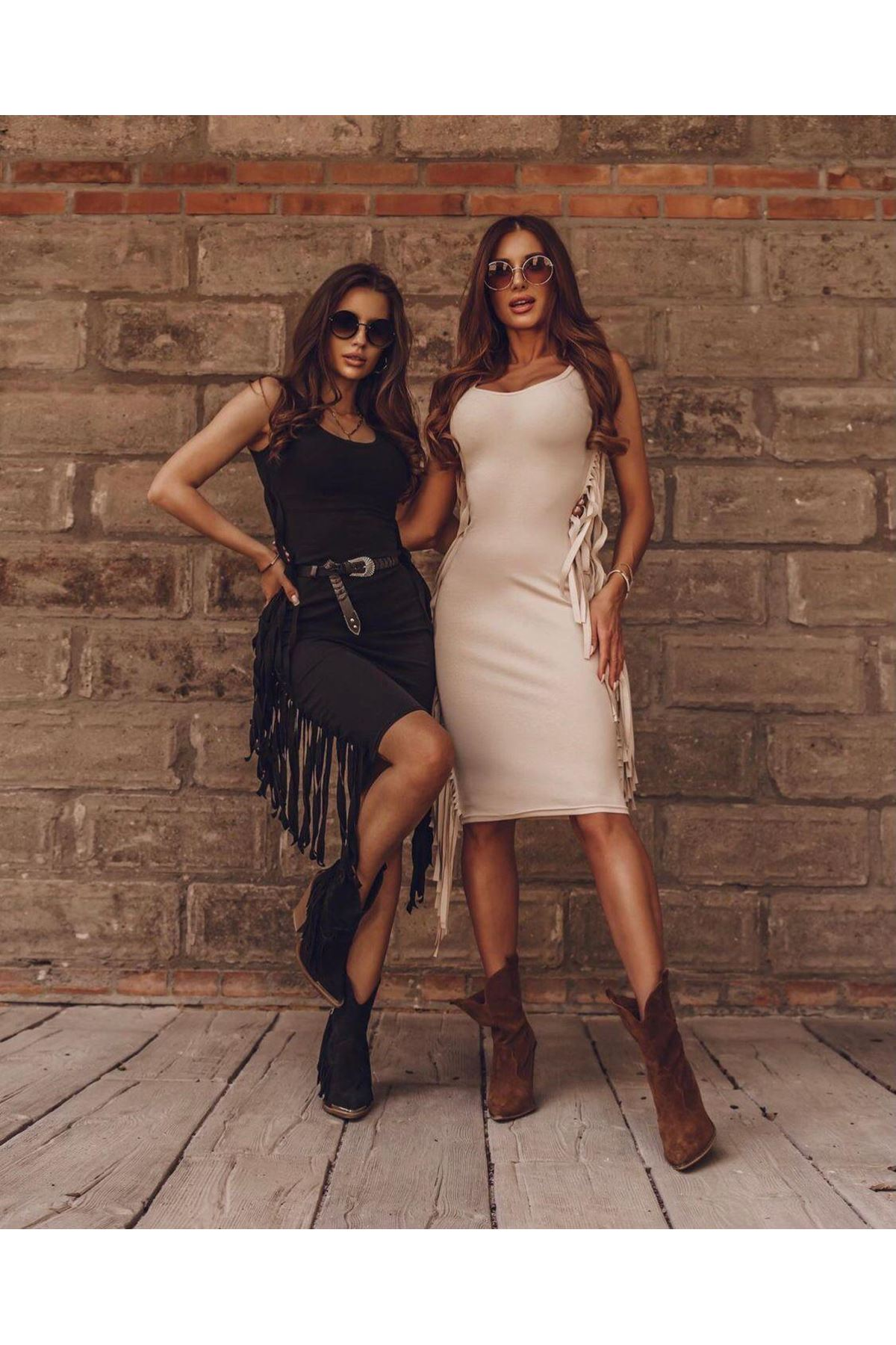Püskül Detaylı İki İplik Elbise - EKRU