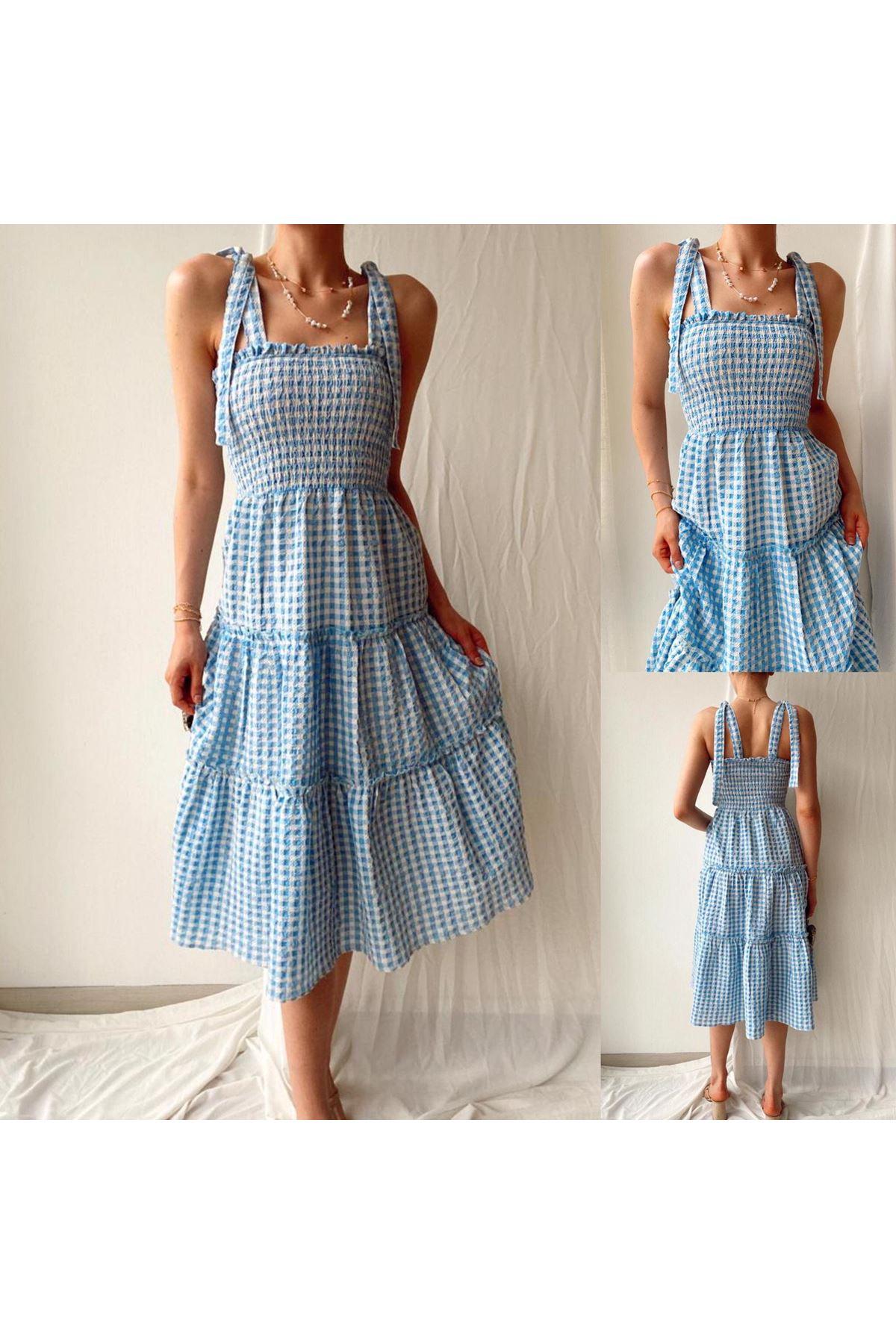 Pitikare Desen Gipeli Elbise - MAVİ