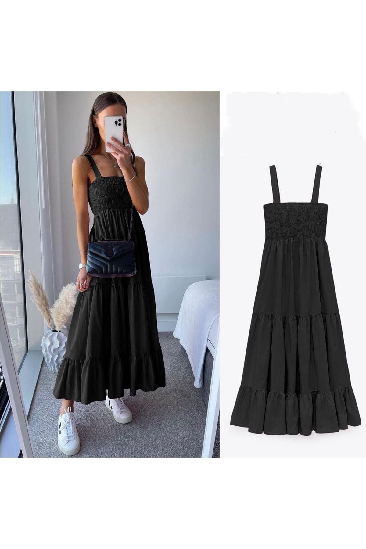 ZR Model Gipeli Elbise - SİYAH