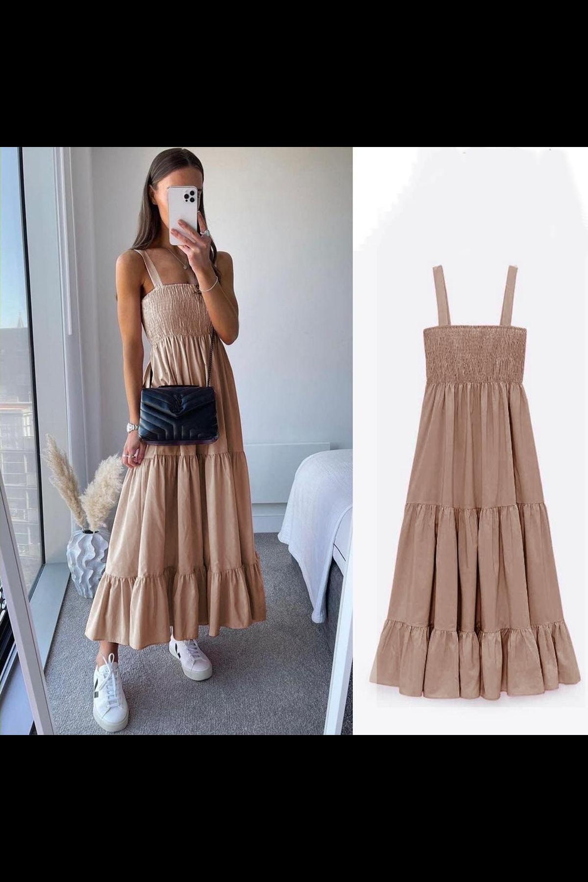 ZR Model Gipeli Elbise - BEJ