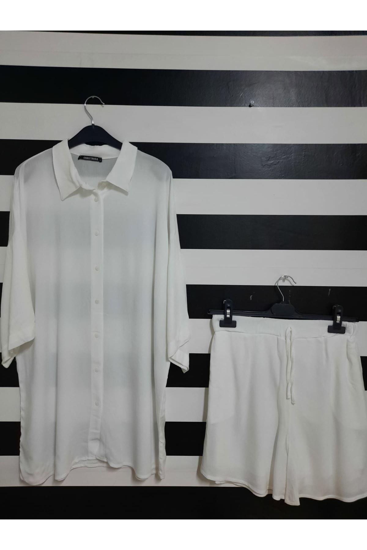 Gömlek Ve Şortlu Krınkıl Takım- BEYAZ