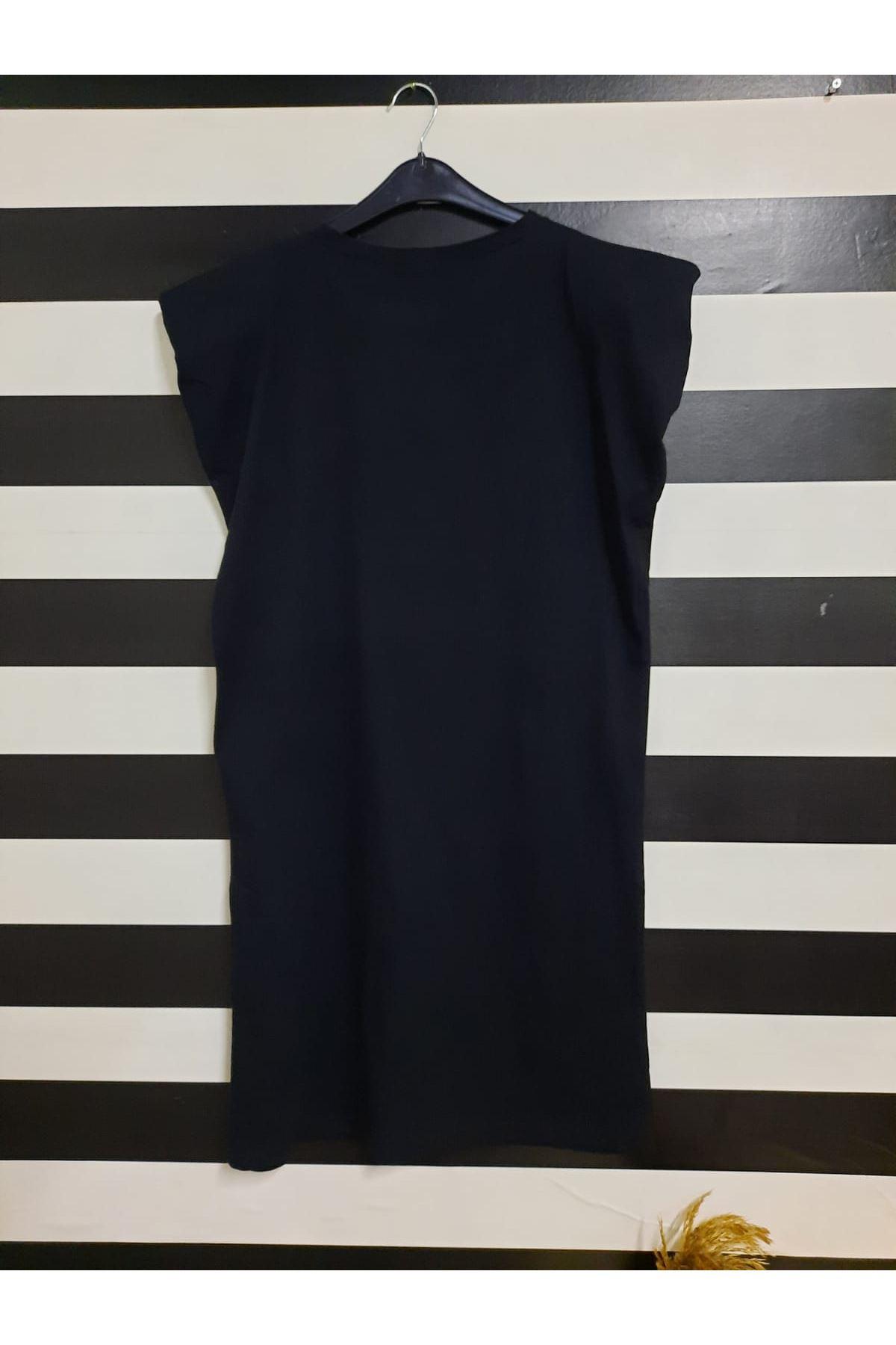Omuz Vatkalı Tunik Elbise - SİYAH