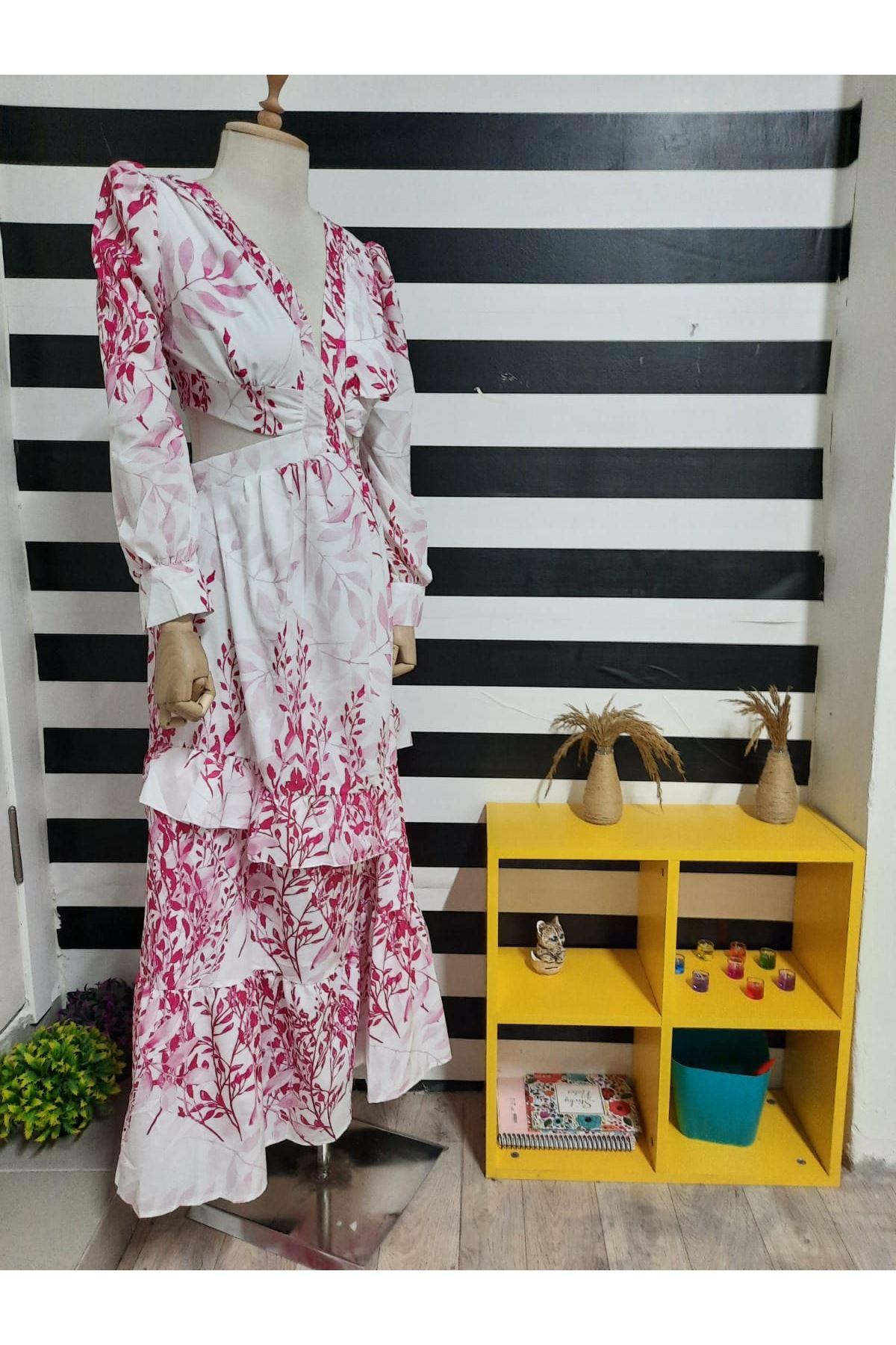 Sırt Gipe Detaylı Maxi Elbise - PUDRA