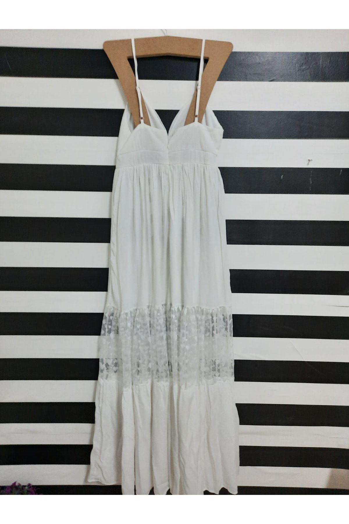 Dantel Detaylı Askılı Elbise - BEYAZ