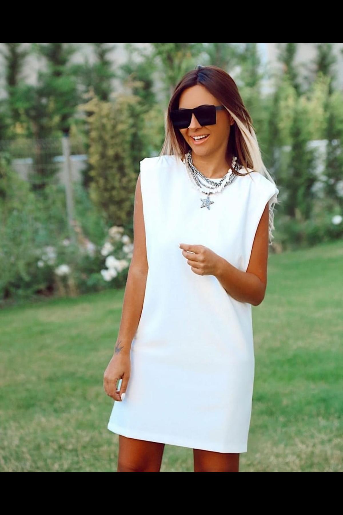 Omuz Vatkalı Tunik Elbise - BEYAZ