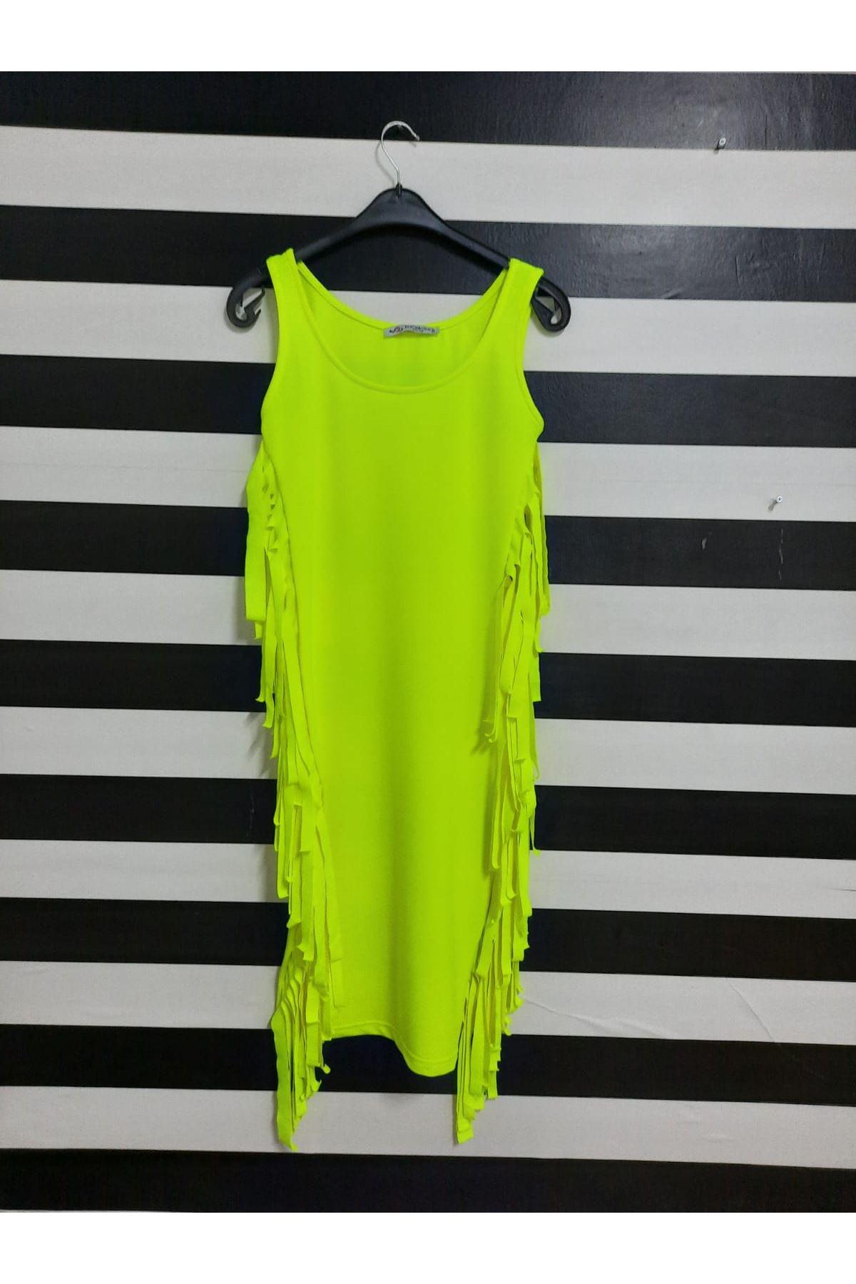 Püskül Detaylı İki İplik Elbise - YEŞİL