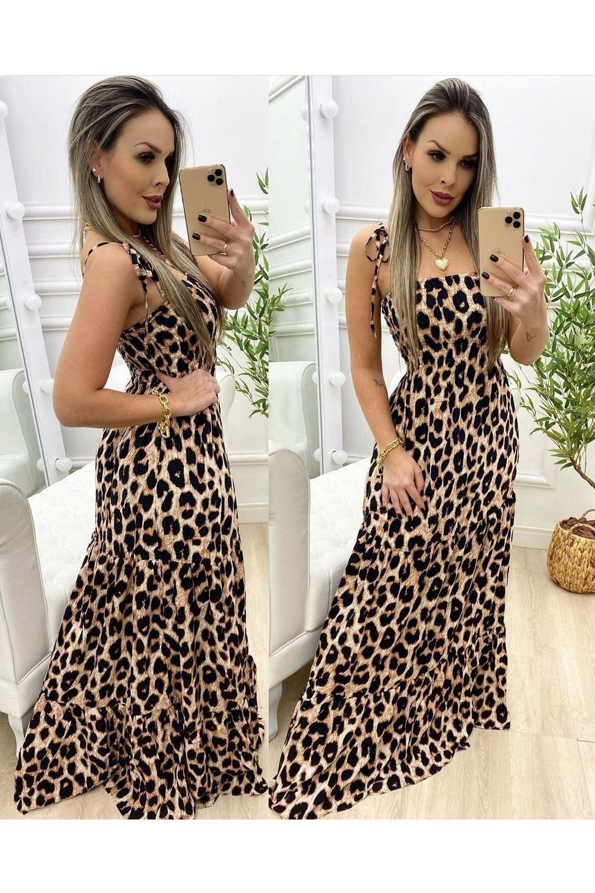 Leopar Desen Askılı Maxi Elbise - LEOPAR