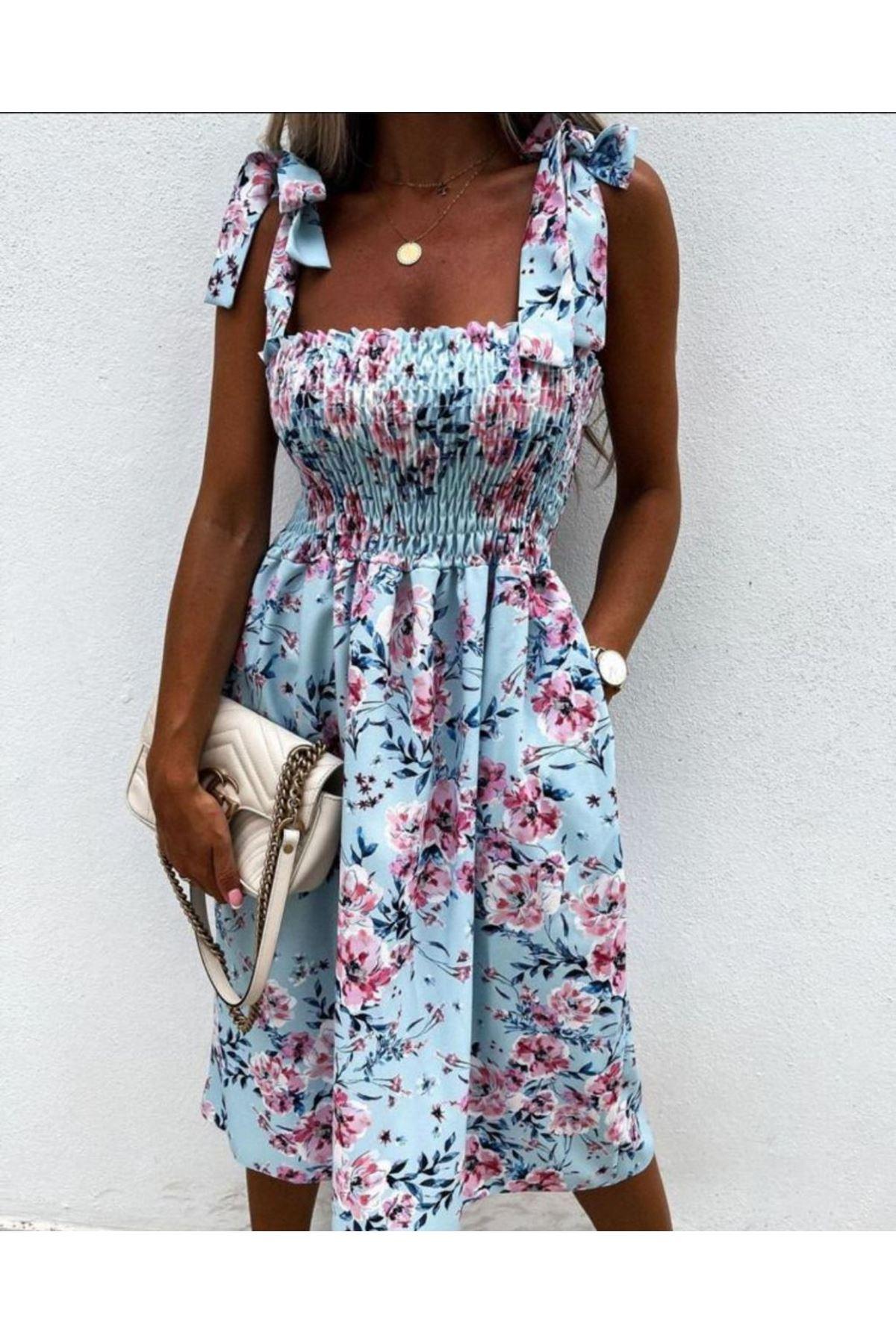 Gipeli Omuz Bağlamalı Elbise - MAVİ
