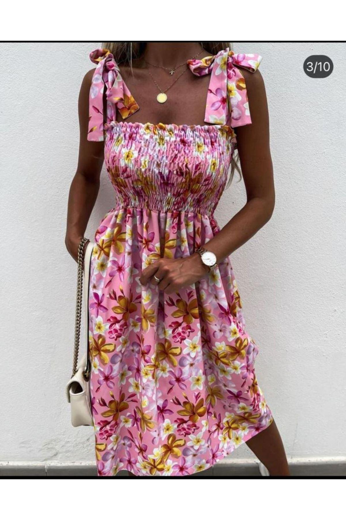 Gipeli Omuz Bağlamalı Elbise - PEMBE