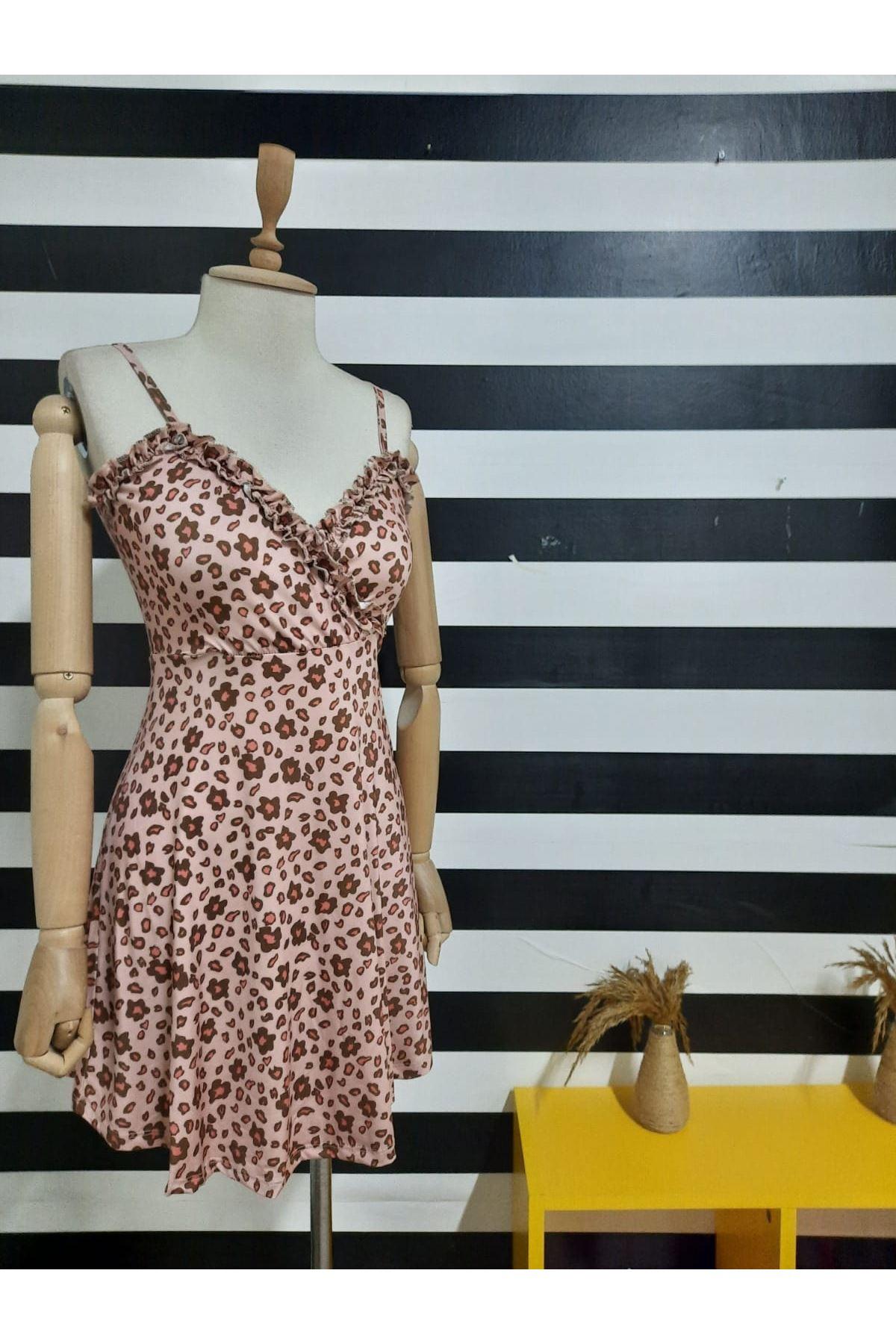 Leopar Dijital Baskılı Kravuze Elbise - LEOPAR