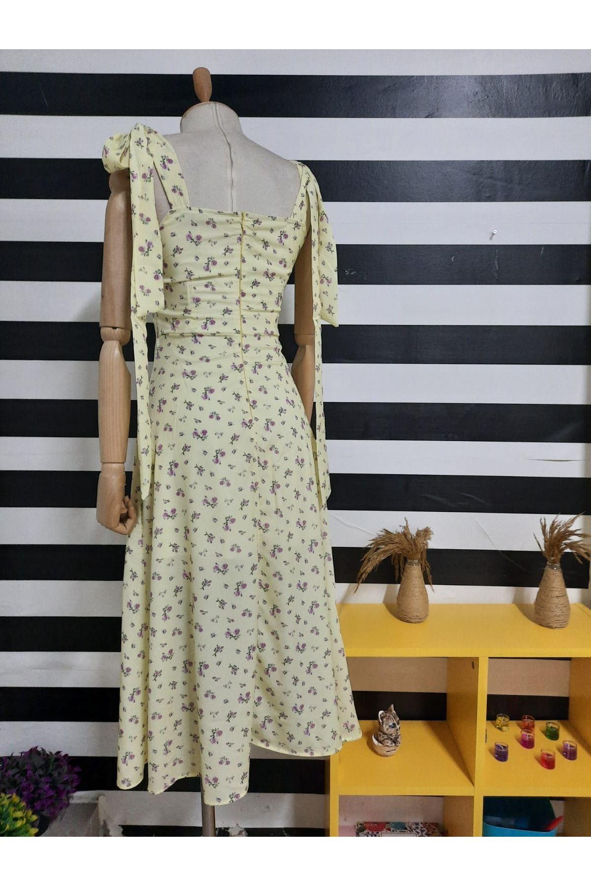Yırtmaç Detaylı Omuz Bağlamalı Elbise - SARI